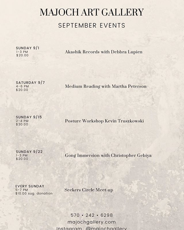 We have a nice September in store. #art gallery in the poconos#spiritual center#majoch gallery#i have so much# so grateful