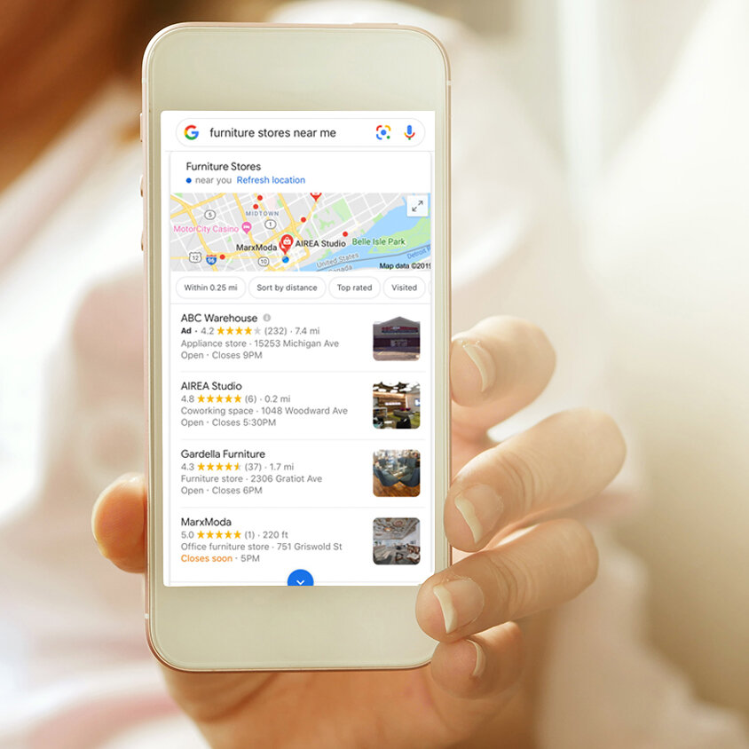 """DID YOU KNow? - 88% of consumers who search for a local business on their smartphone visit that business within 24 hours.Right now, people in your city are using their mobile phones to search for """"furniture stores near me"""".Does your store appear at the top of the search results? If not, you're missing out on potential customers."""