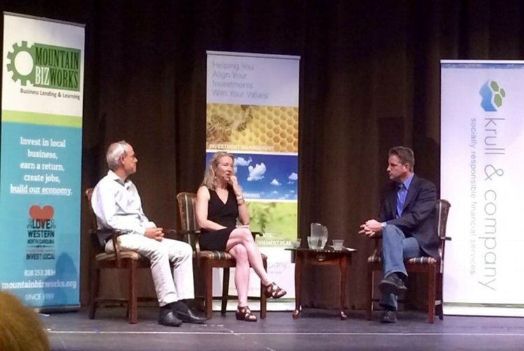 Earth Equity CEO, Peter Krull (right) moderates a discussion with Patagonia's Director of Philosophy Vincent Stanley and Green Century Investment's President, Leslie Samuelrich at the annual Earth Equity Speaker Series in 2015.