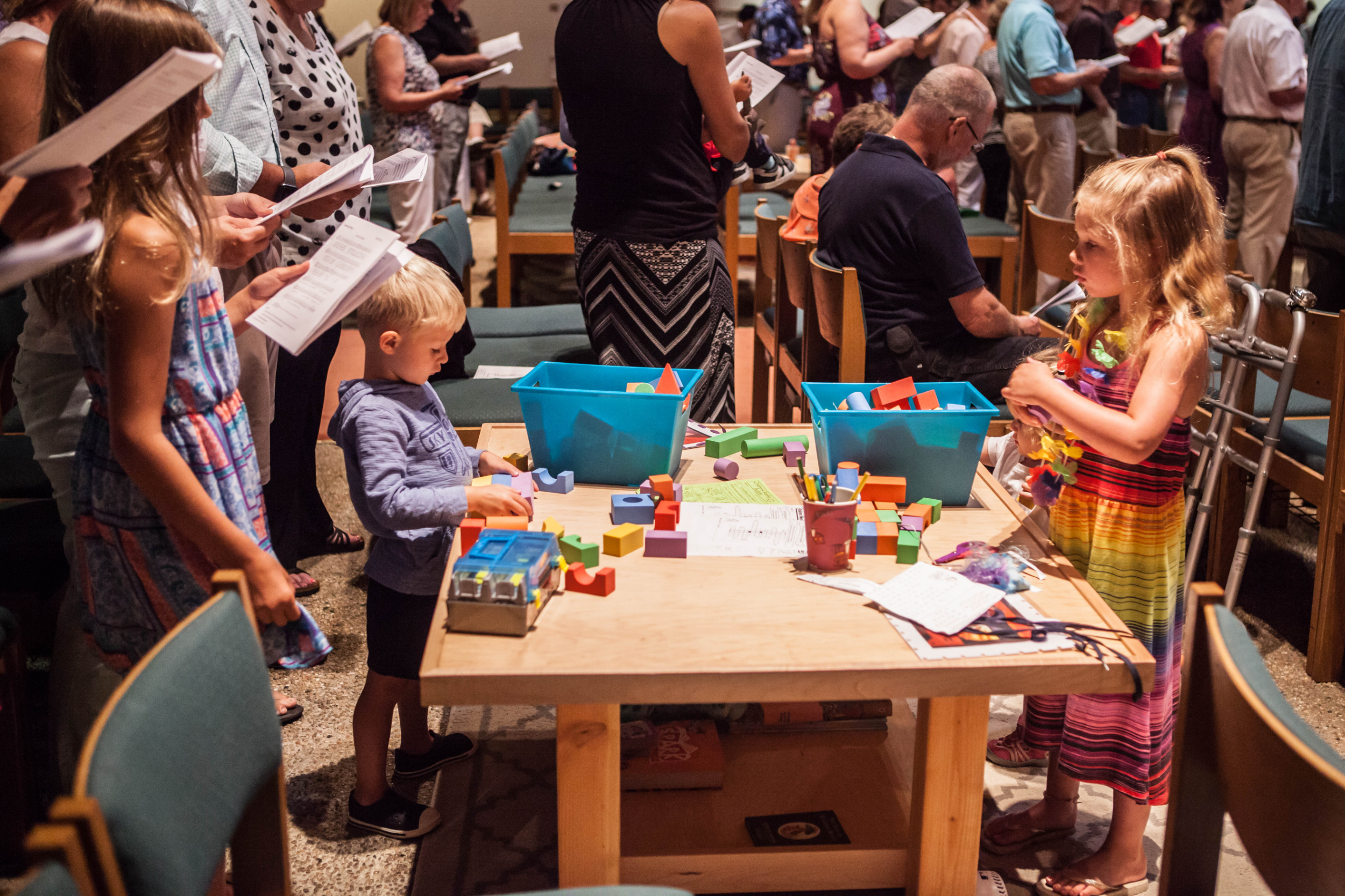 Worship tables - We have three worship tables in our sanctuary for children to use. Each table has a Children's Bulletin. Your family is welcome to sit near one, and your children can worship while they color and create artwork to decorate our sanctuary.
