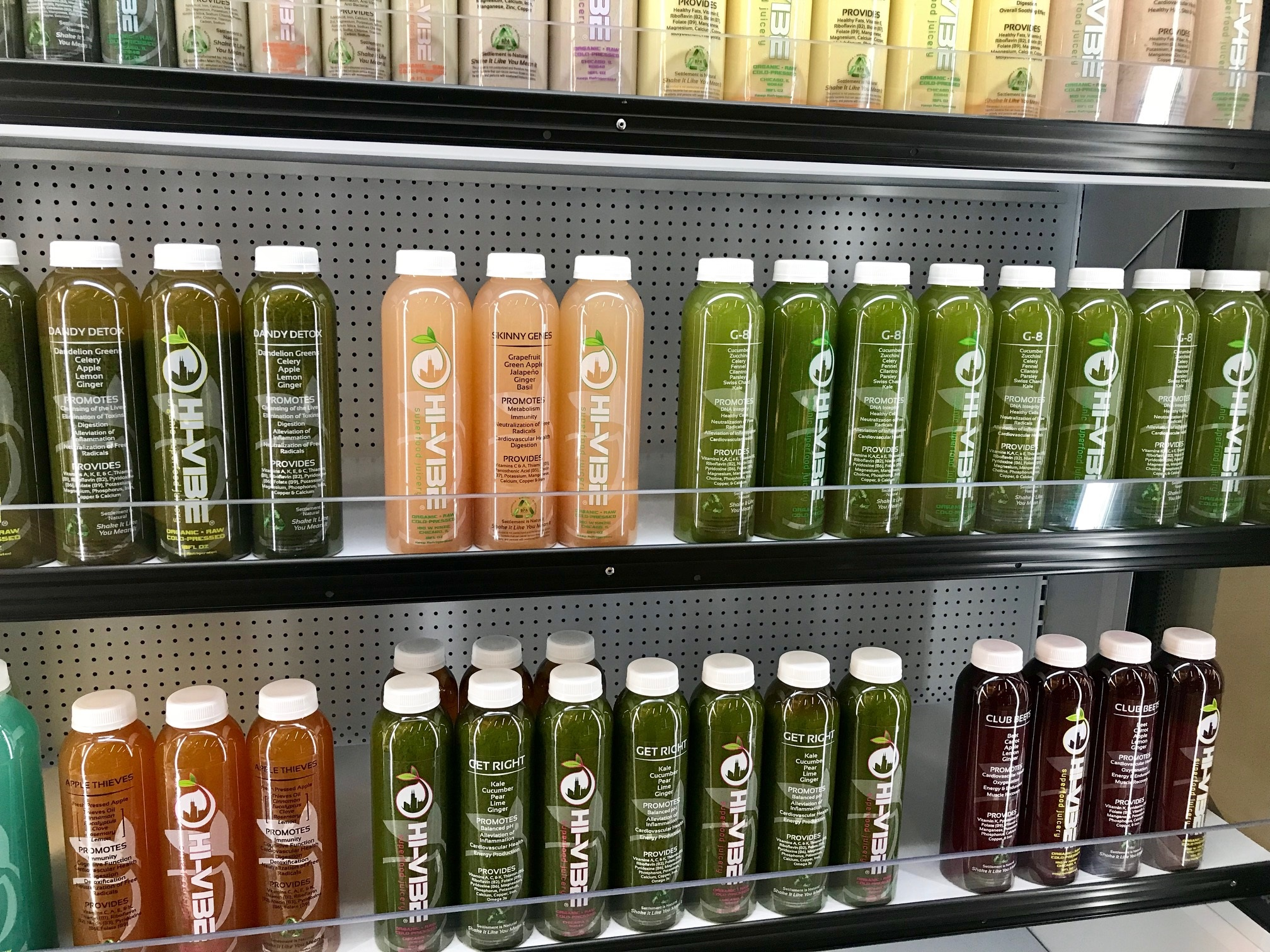 Most items are made to order, but you can also grab a few HiVibe elixirs from the refrigerated section if you're in a hurry.