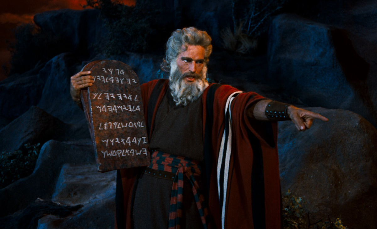 Charles Heston as Moses in 1956 film Ten Commandments