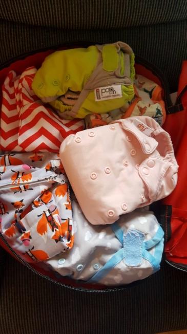 The cloth nappy kit I borrowed from the Cloth Nappy Library of Ireland!