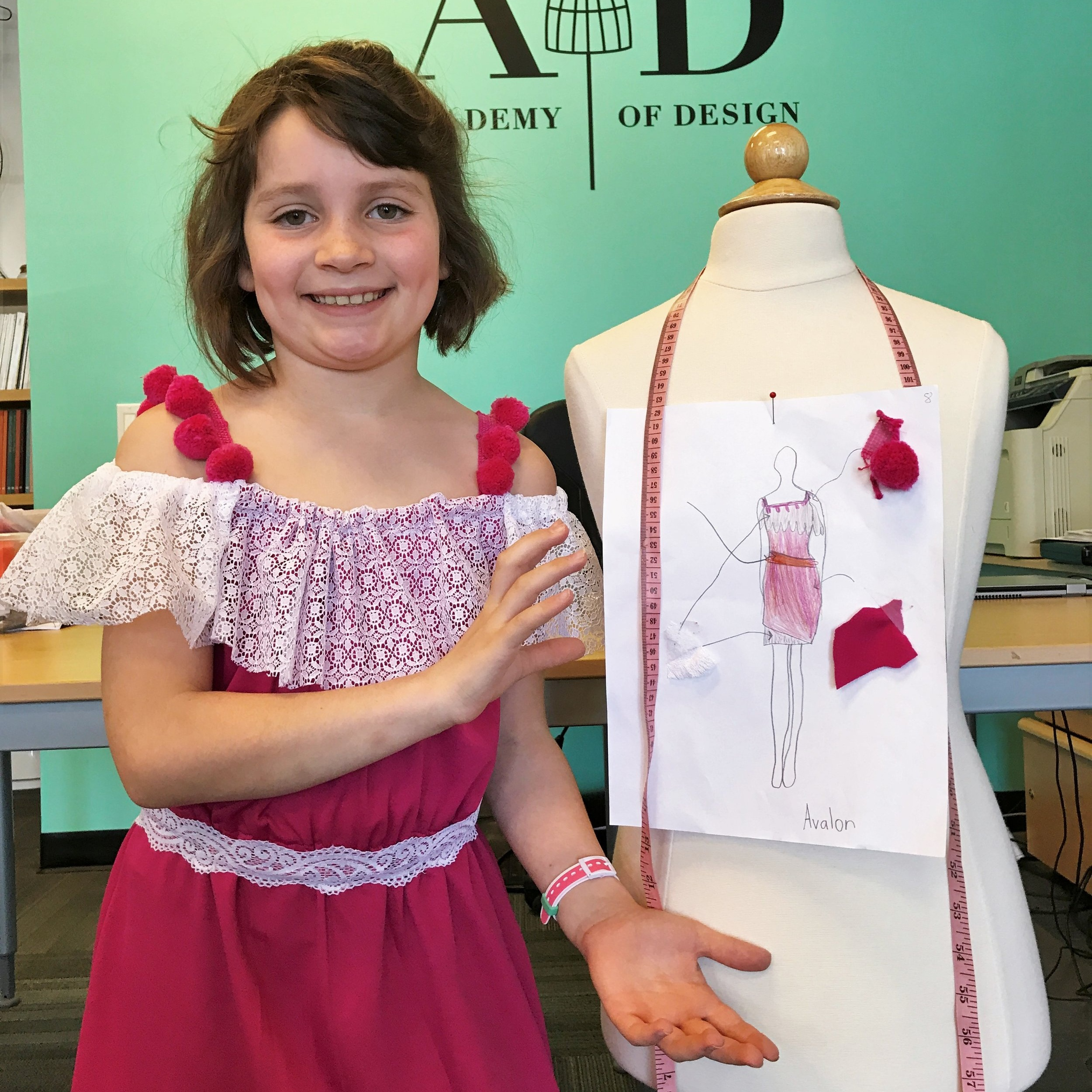 "Learning is ""hands-on"" - Each designer chooses his/her unique project. Students learn to sketch, learn about textiles, learn to hand sew and operate sewing machines.Our fun bright fashion studio is equipped with dress forms for experimenting, spacious work tables, and computerized sewing machines."