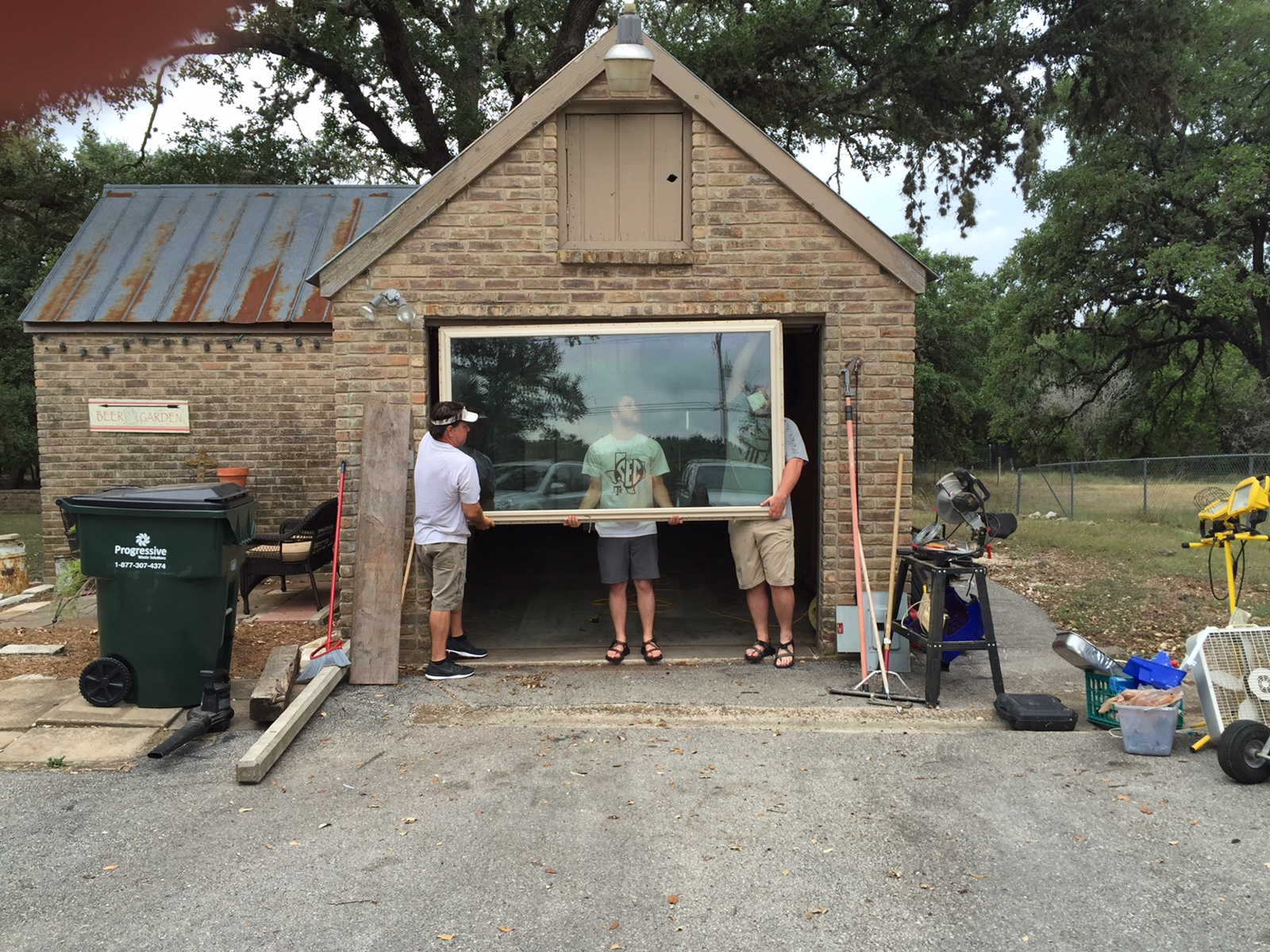 Replacing the garage door with our kitchen window.