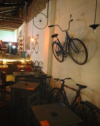 As bicicletas também fazem parte da decoração