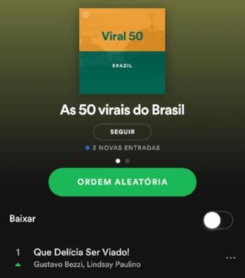 Depois de assumir a primeira posição,  hit  ficou mais dez dias na lista dos 50 virais do Spotify no Brasil