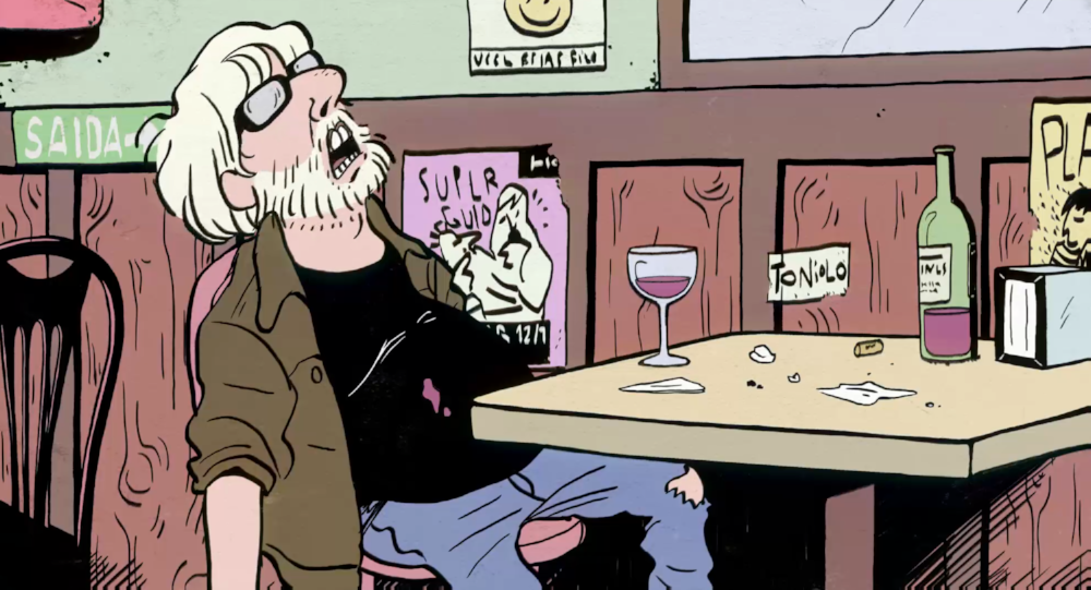 Cena do filme de animação  A Cidade dos Piratas , de Otto Guerra, em que ele próprio aparece em bar inspirado no Bambu's (imagem cedida por Otto Desenhos Animados)