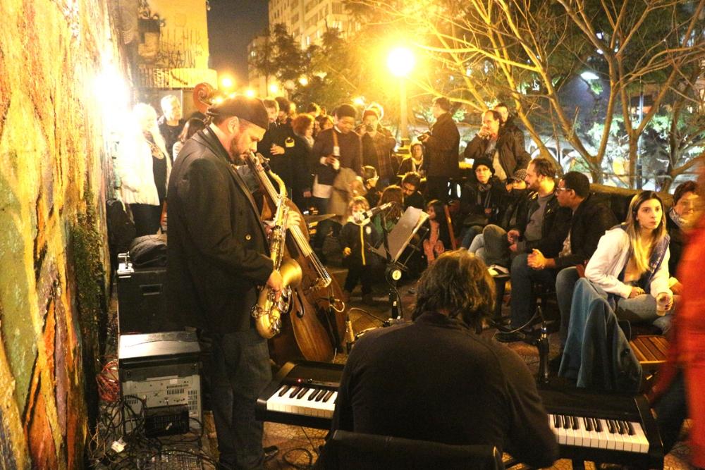 Show do João Maldonado Quarteto na estreia do projeto Jazz na Escadaria, no Viaduto Otávio Rocha (Foto Marcos Monteiro)
