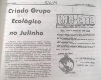 Notícia da criação do grupo Kaa-Eté no Jornal do Comércio em 1979