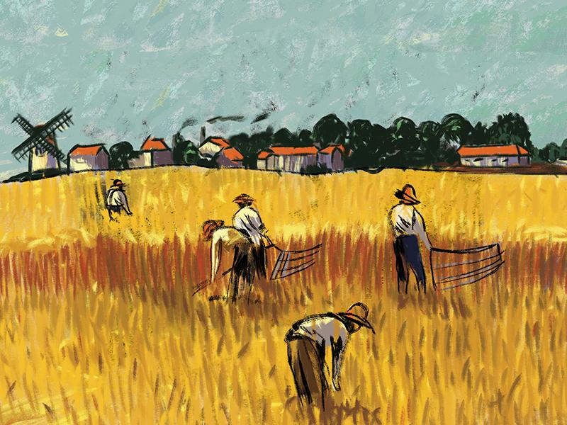 Destaque do rótulo da cerveja Trigueira, com a imagem de trabalhadores numa plantação de trigo