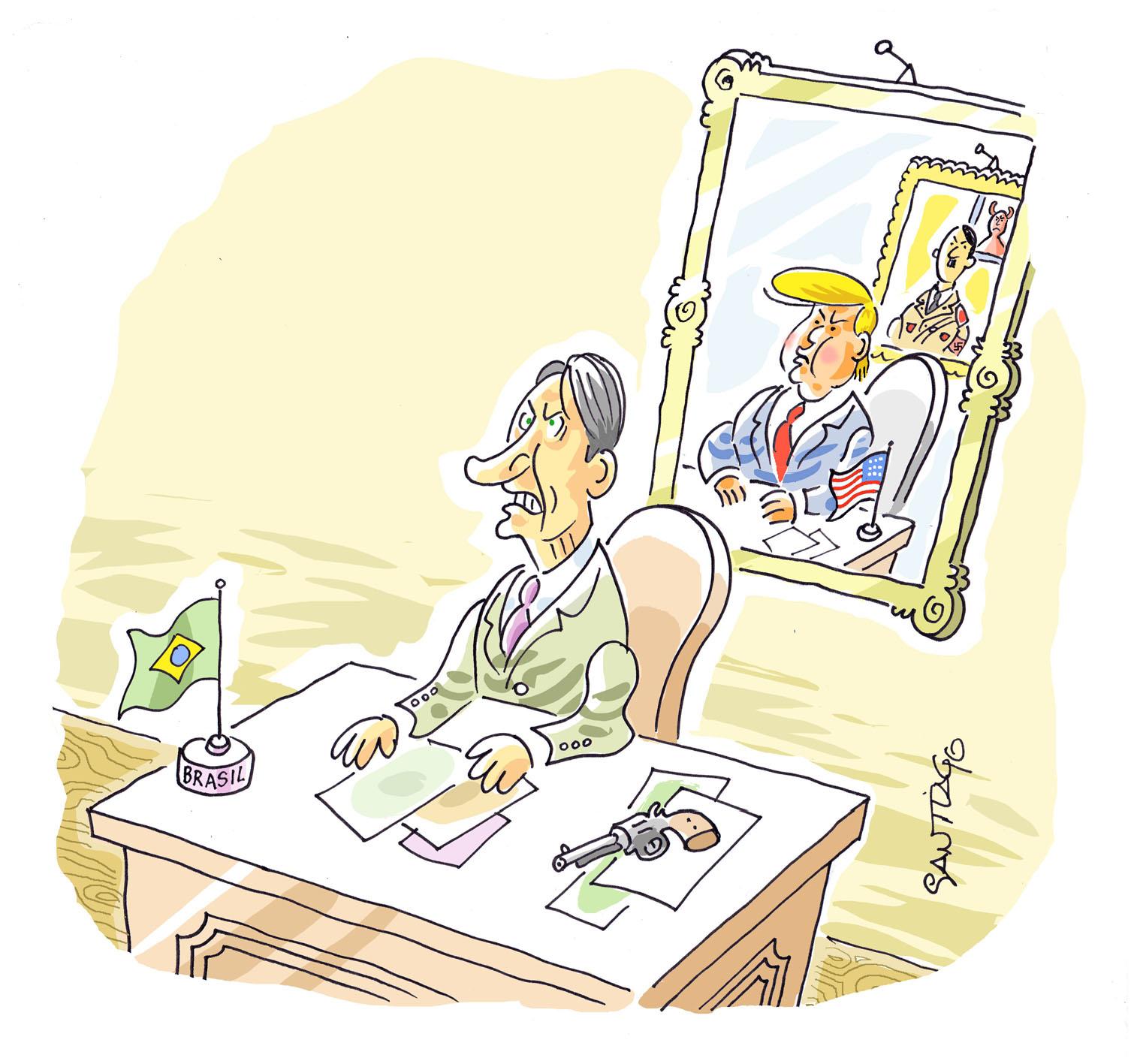 """Cartum inédito de Santiago, especialmente cedido para  Rua da Margem , destaca o posicionamento crítico que marca a obra multipremiada do artista: """"Bons desenhos sempre mostram a opinião do cartunista"""""""