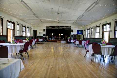Our Ballroom on the upper level has a stage, wood dance floor and lots of room for entertaining.