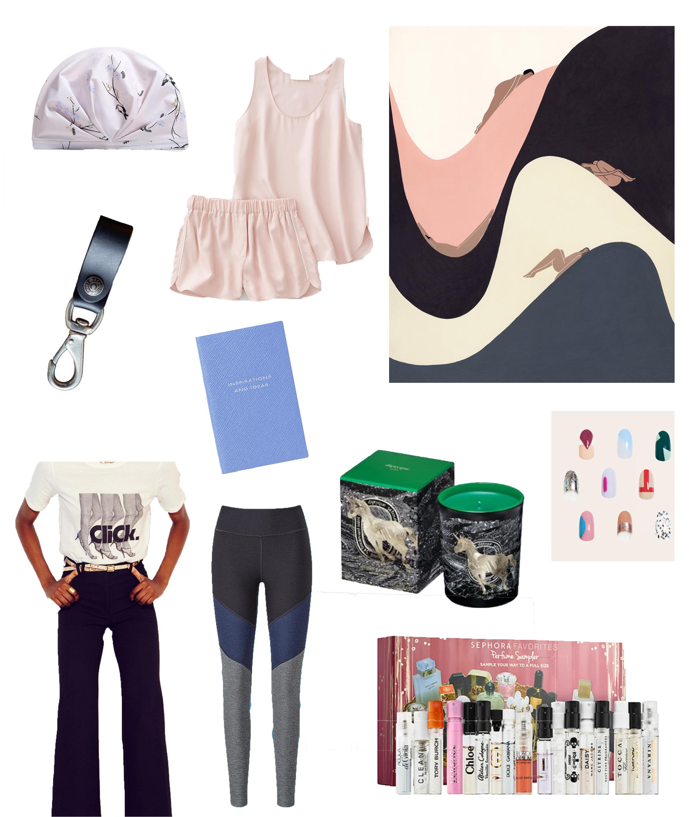 Image Sources: Shhhower Cap; Everlane; Laura Berger; Schott NYC; Smythson; Diptyque; Paint Box; Monogram Studio; Outdoor Voices; Sephora.