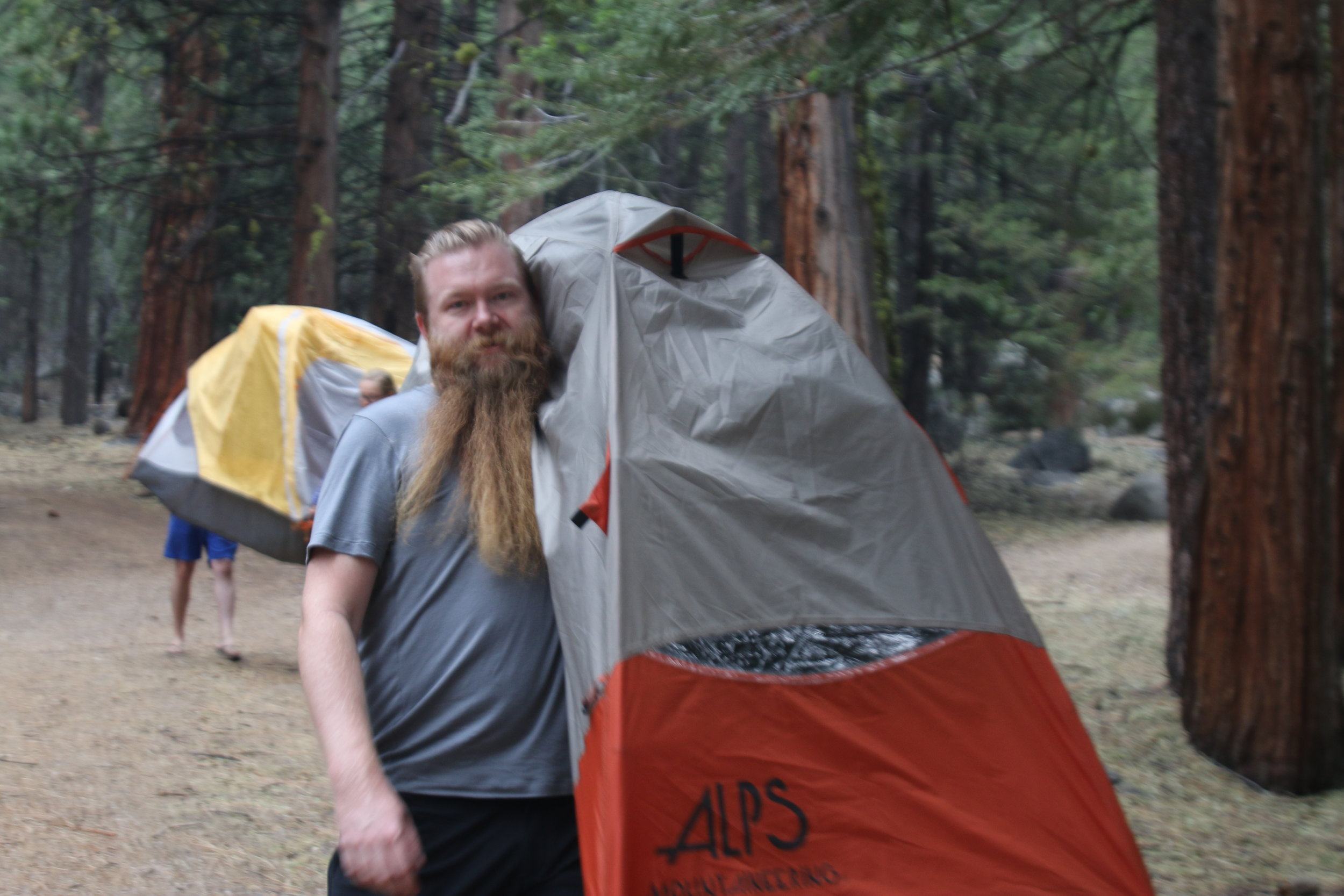 Some people choose to camp in tents they bring themselves.