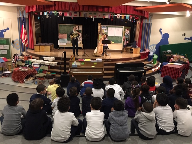 February, 2019: Performing for 4th graders in Philadelphia through Astral Artist's residency program with Rachel Lee Hall, Harp