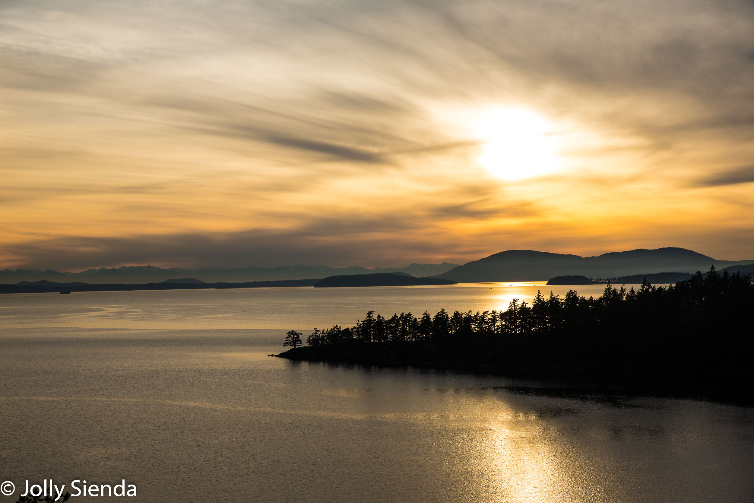 Winter sunset on Samish Bay