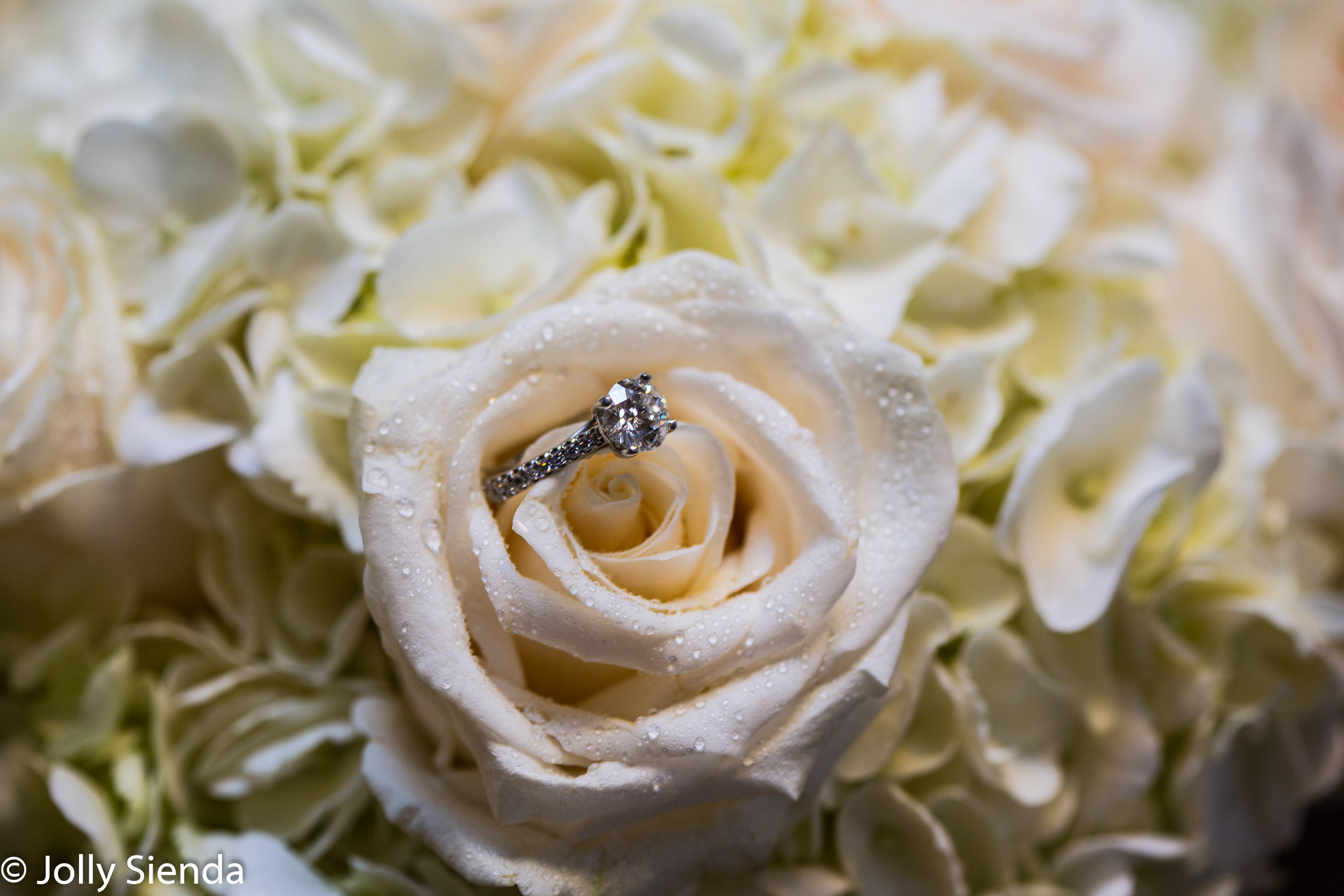 The Diamond Engagement Ring and White Roses, wedding photography