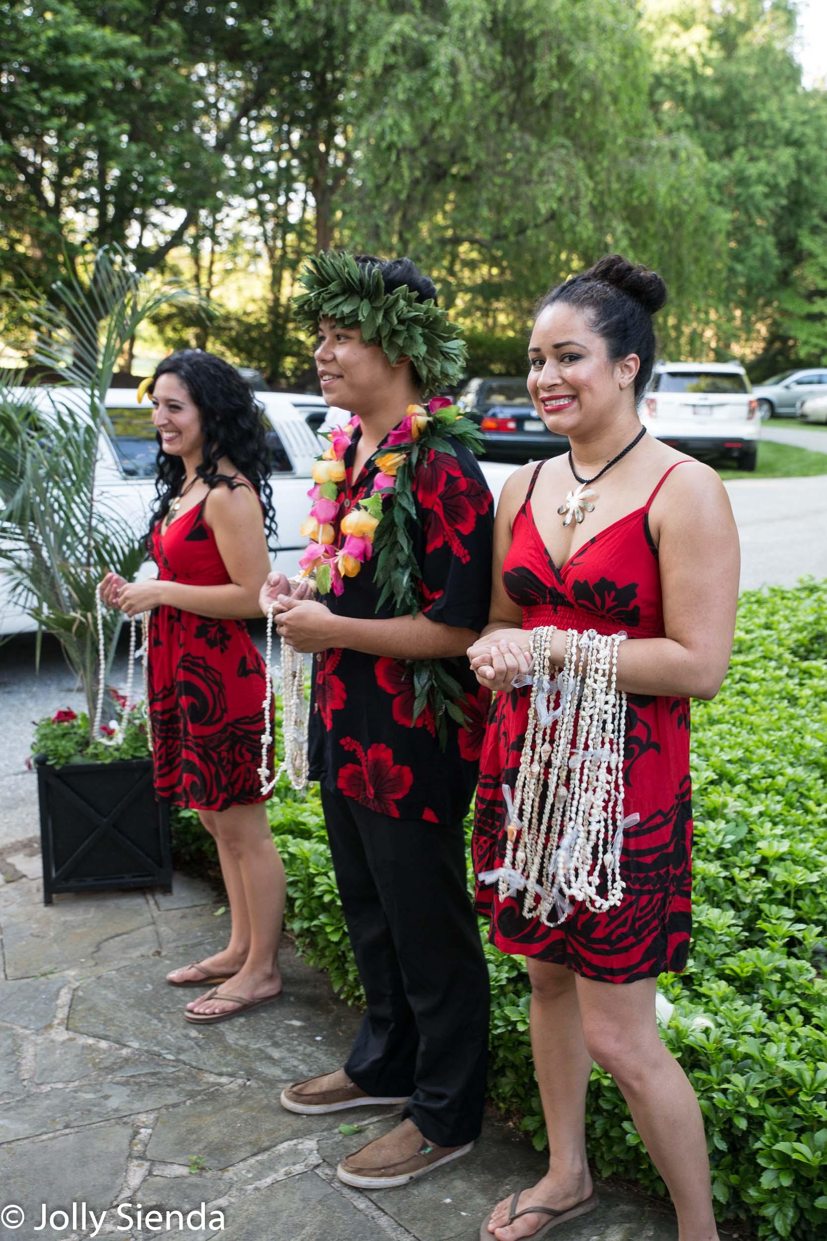 Luau wedding with flower leis
