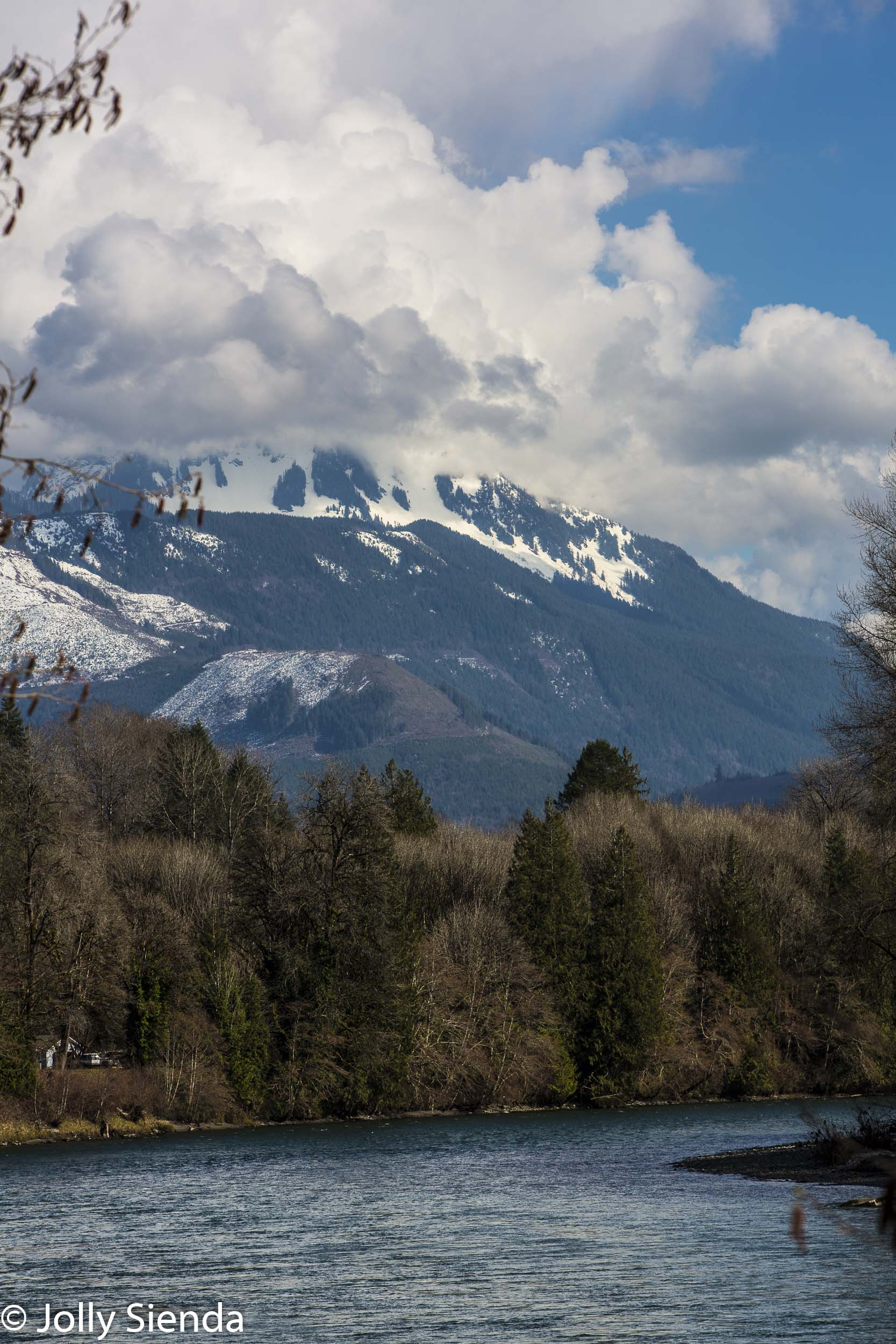 Snow topped Sauk Mountain over the Skagit River