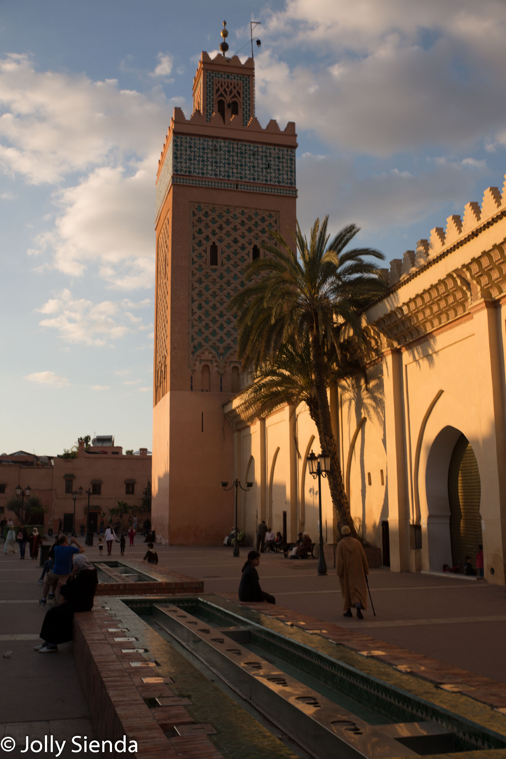 Sunset on mosque and the square