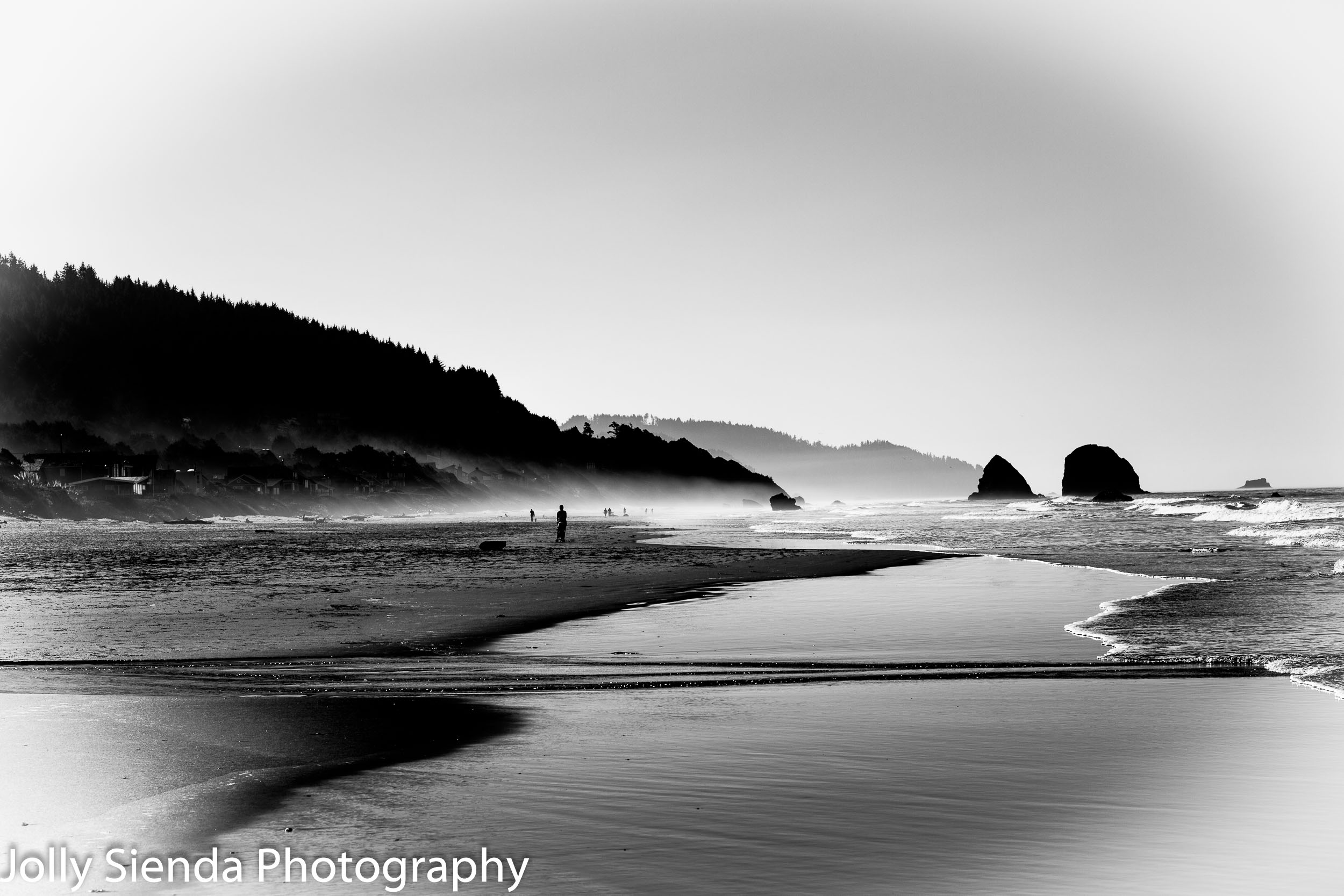Autumn mist on Cannon Beach in Black and White