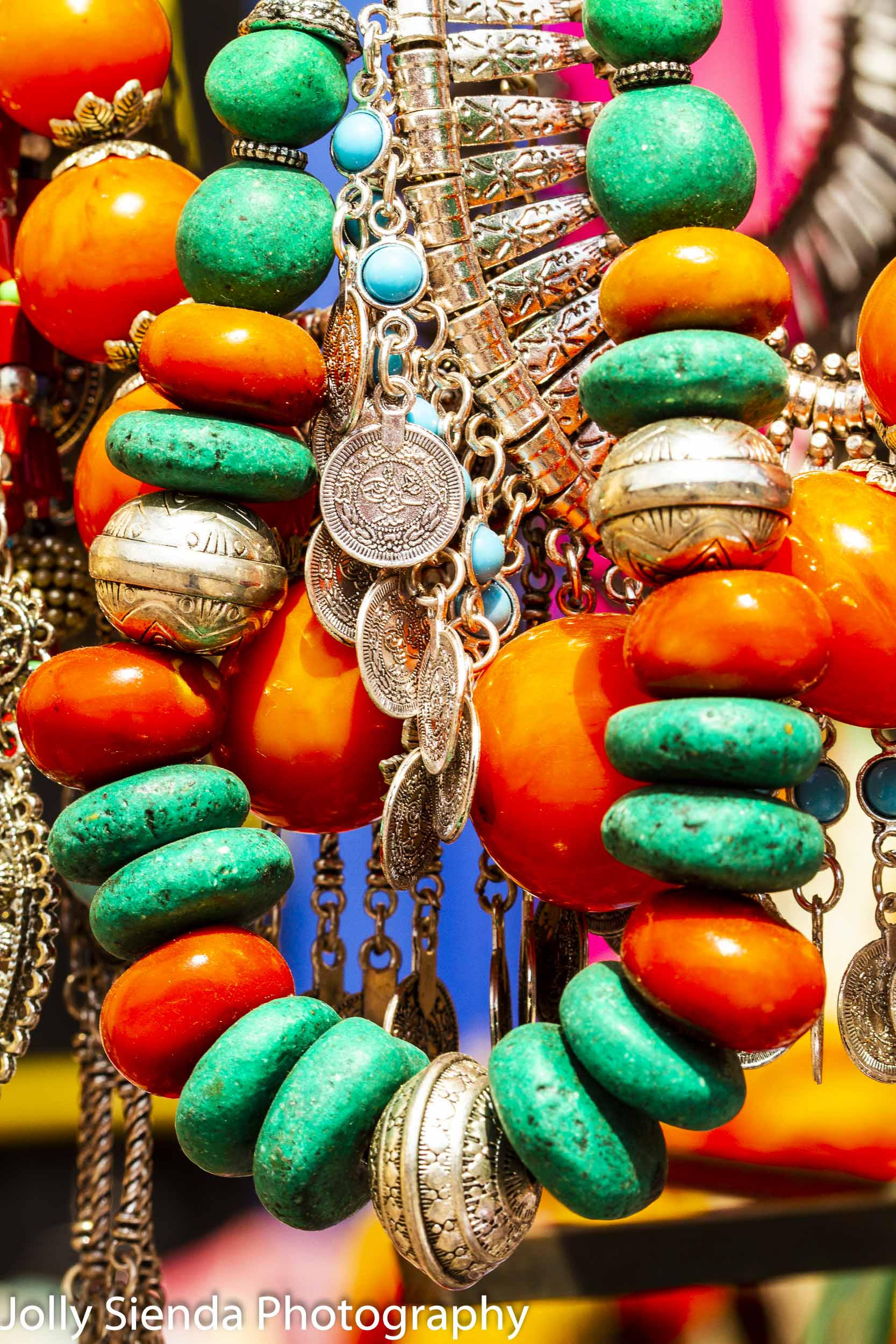 Moroccan silver, amber, and turqouise beaded hanging necklaces