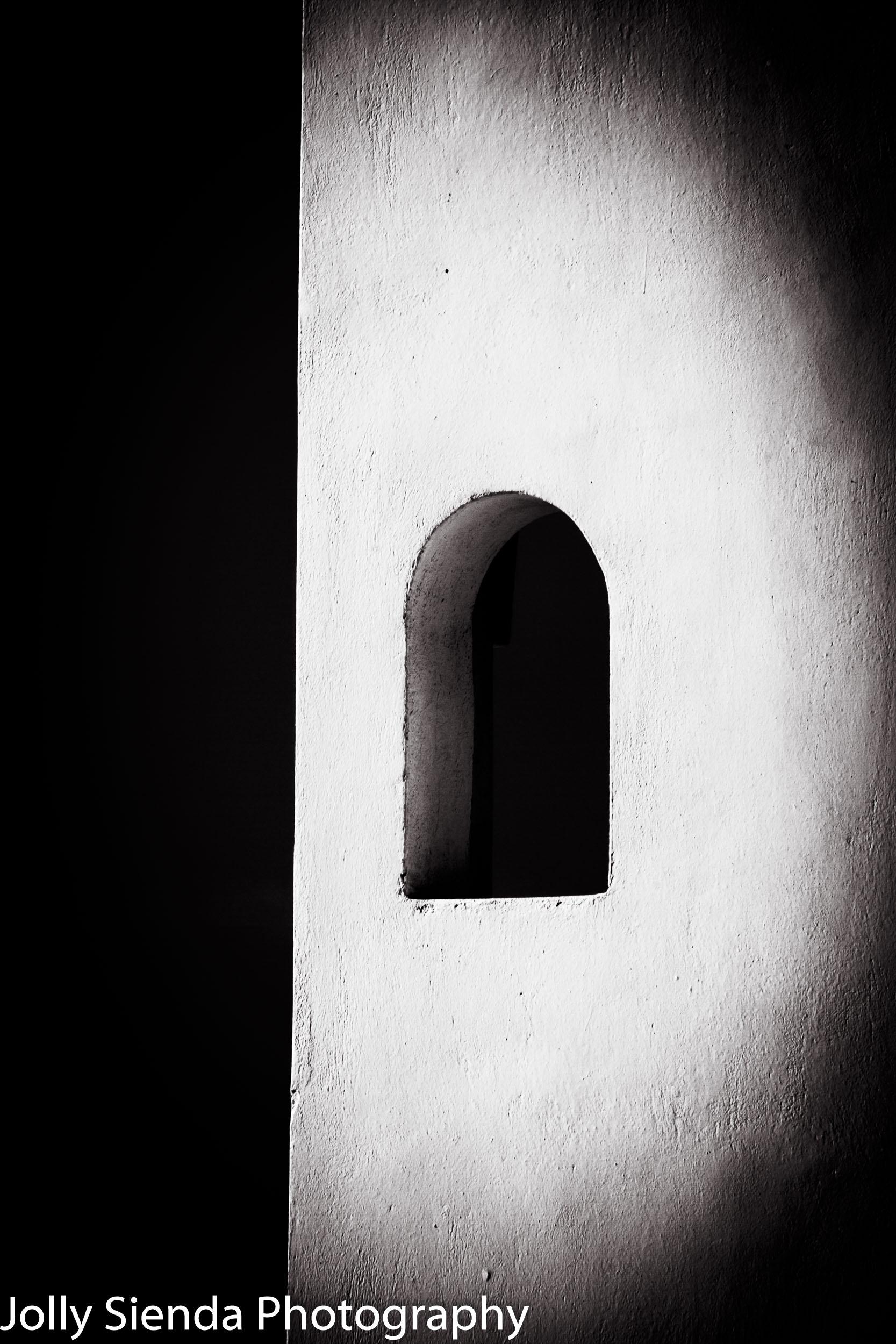 Black and White Curved, Greek, White Washed, Stucco, Window