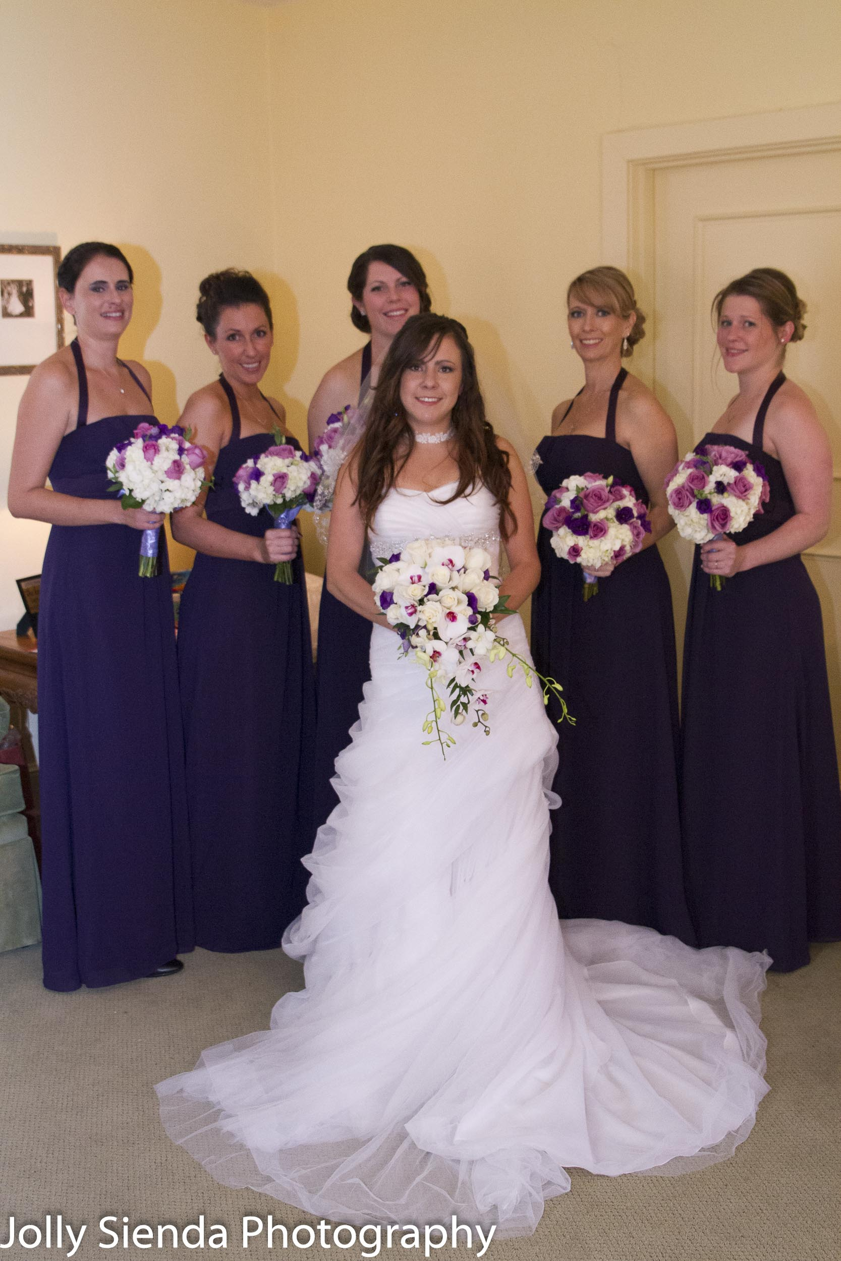 Portrait of a bride with her bridesmaids