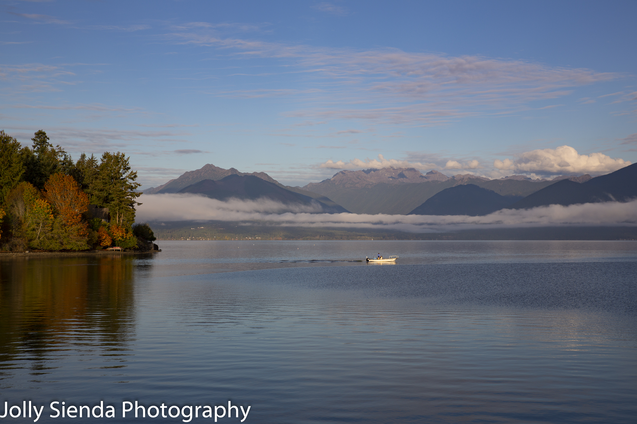Fisherman goes out on the Hood Canal in Autumn.