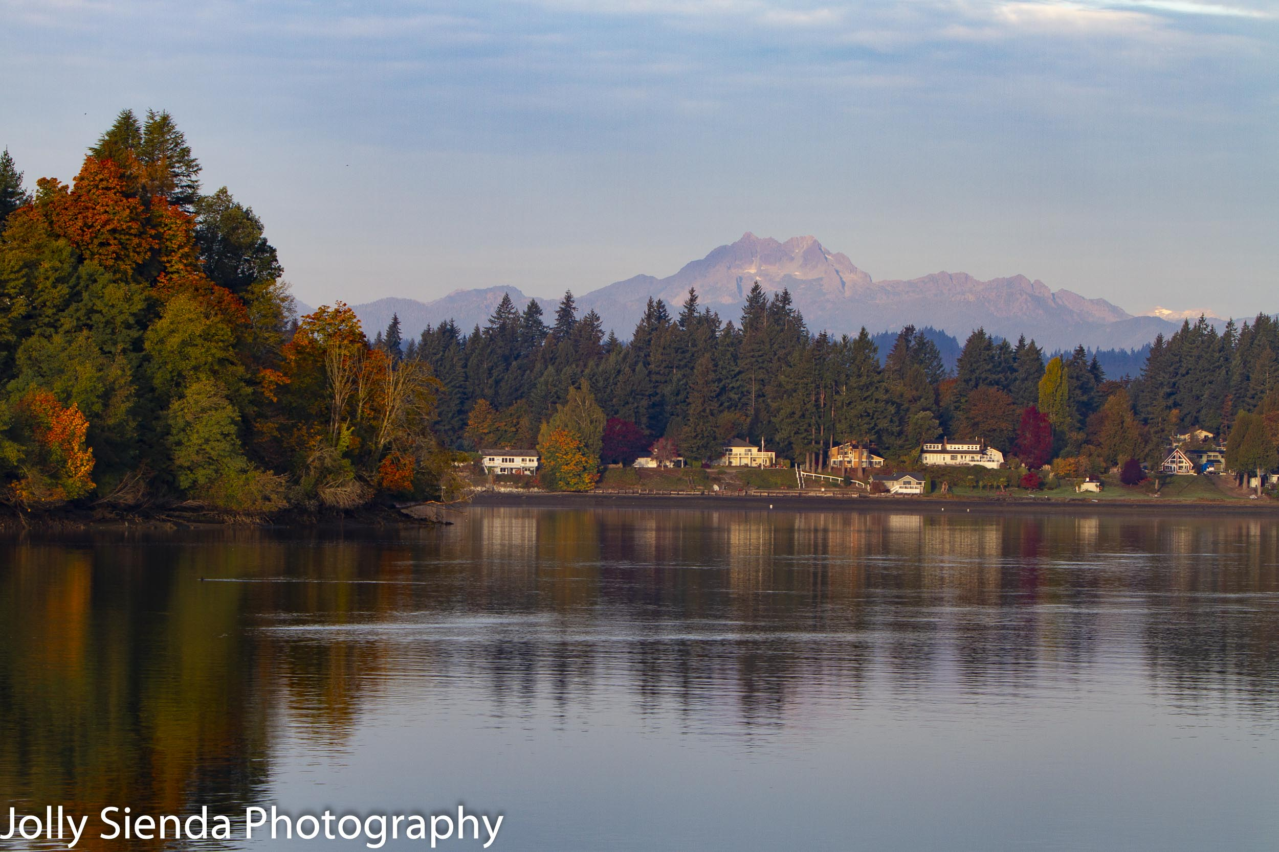 The Olympic Mountains (Brothers Mountain) and beautiful Autumn color on the Puget Sound, Bremerton, Washington