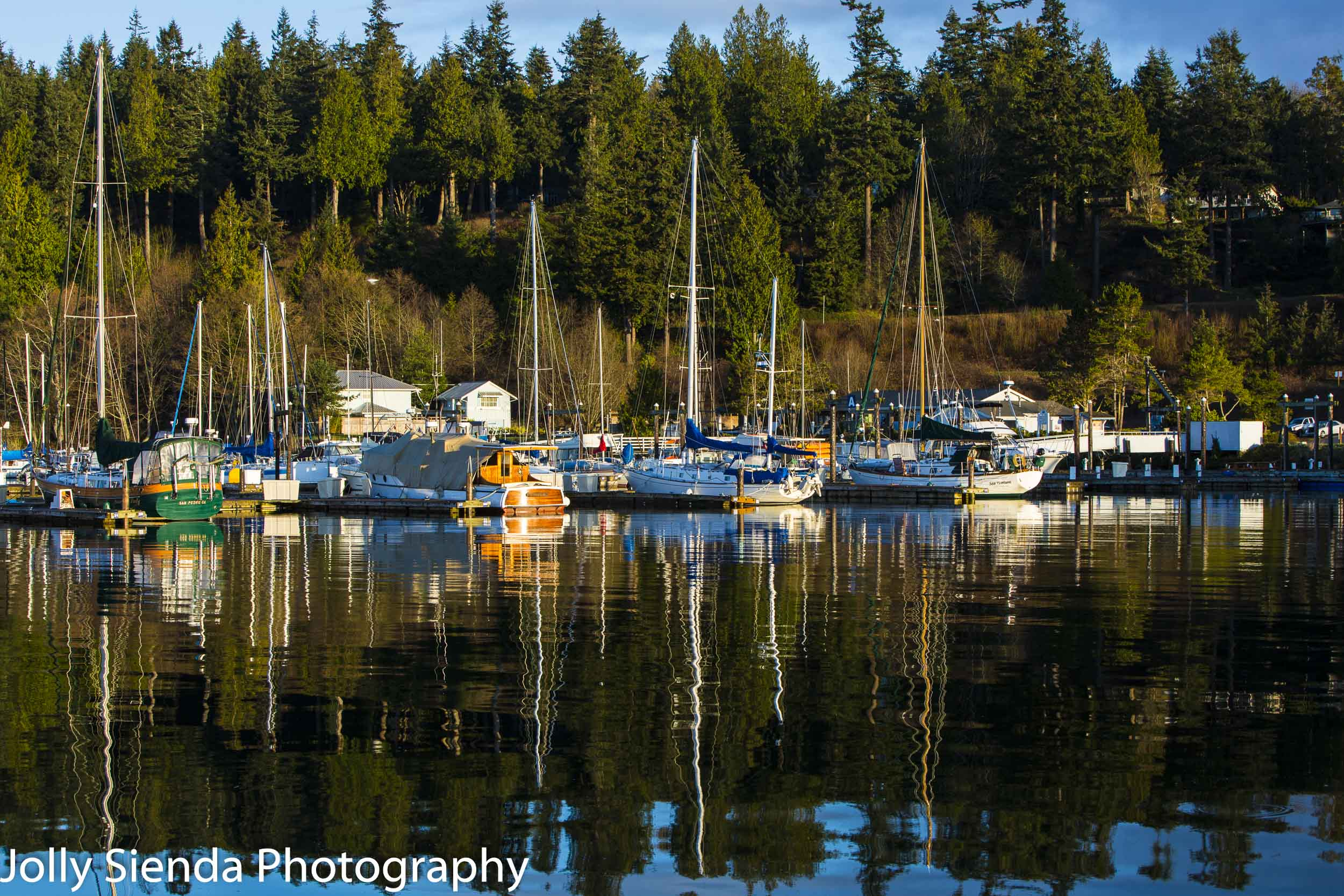 Splash of reflected color of evergreen trees and colored boats o