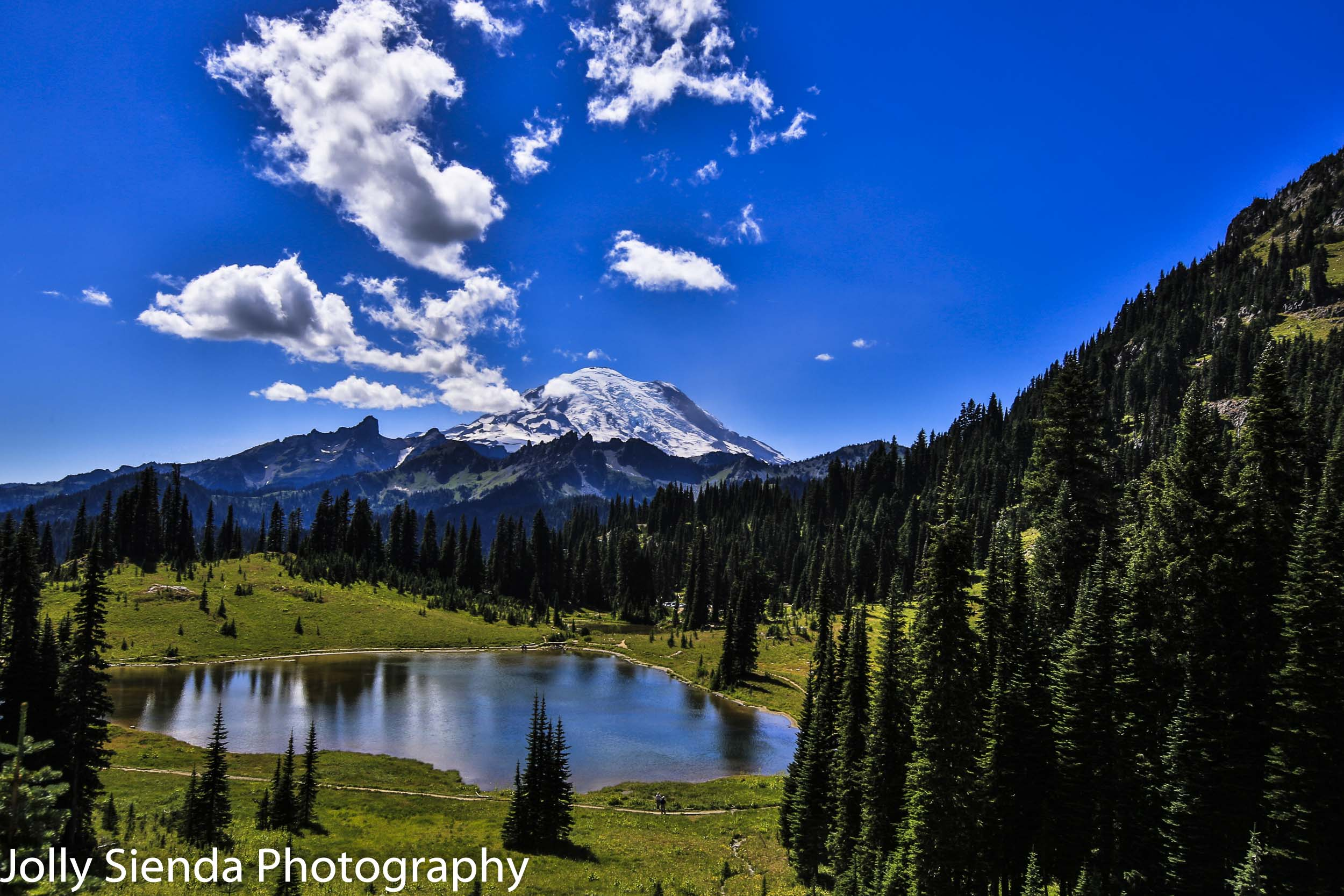 Mount Rainier, clouds, evergreen trees, lake at summertime