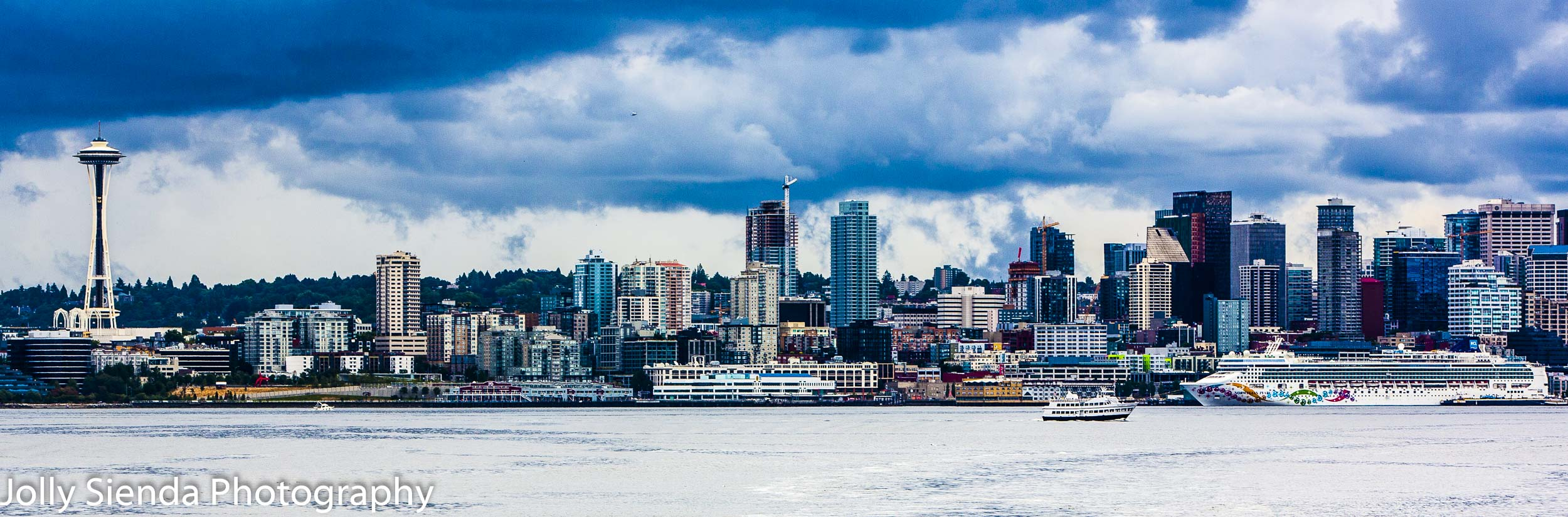Seattle city skyline from Elliot Bay with the Space Needle and a