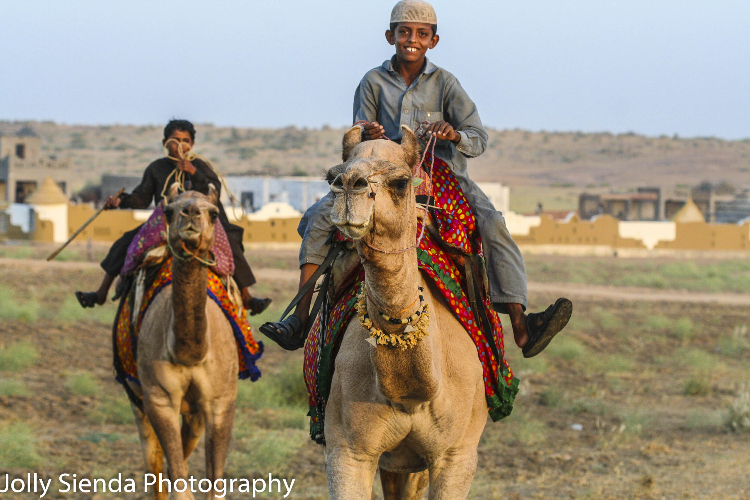 Bedouin, banjaras boys gallup smiling on decorated camels in the