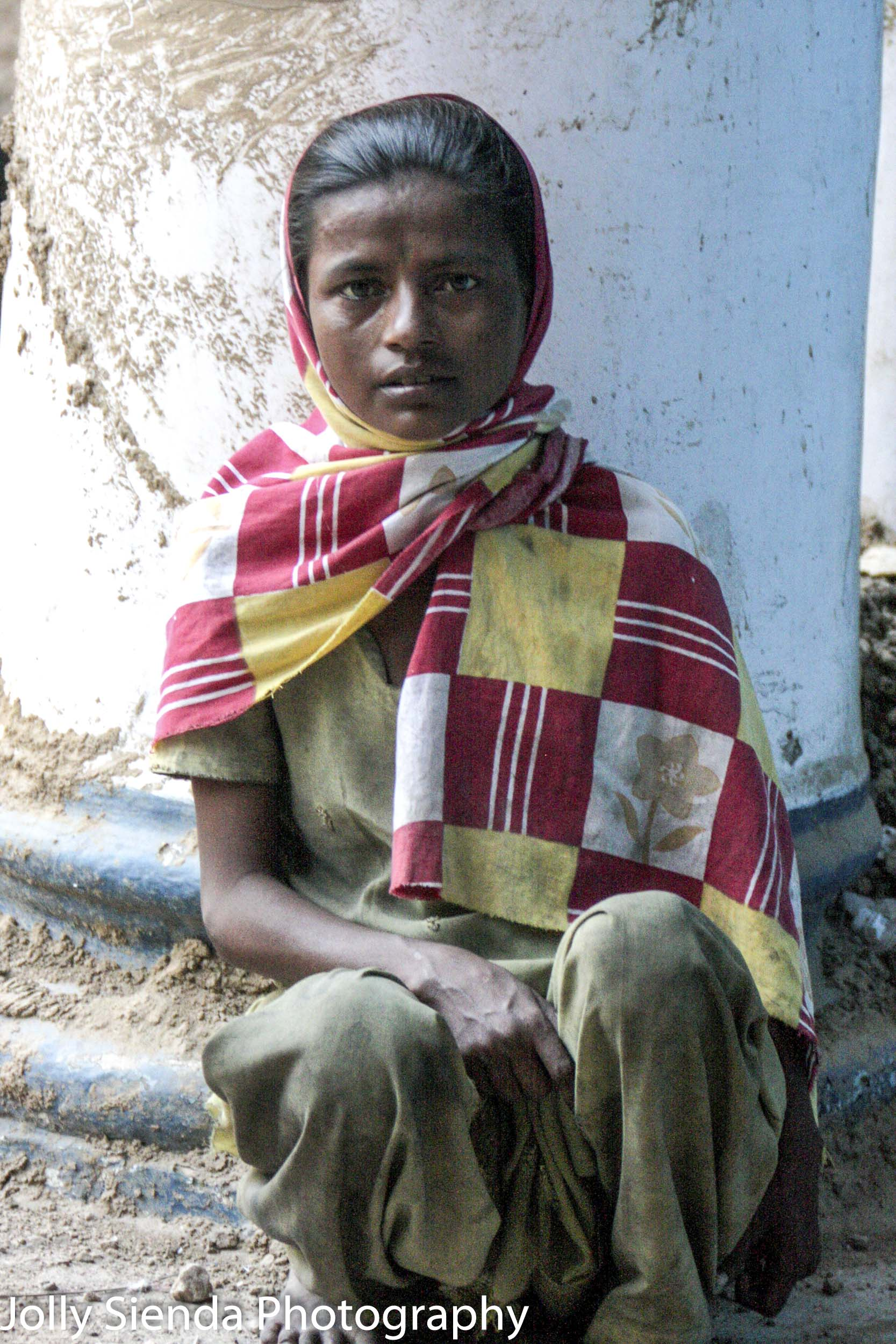 Delhi Girl in Red and Yellow Check Scarf