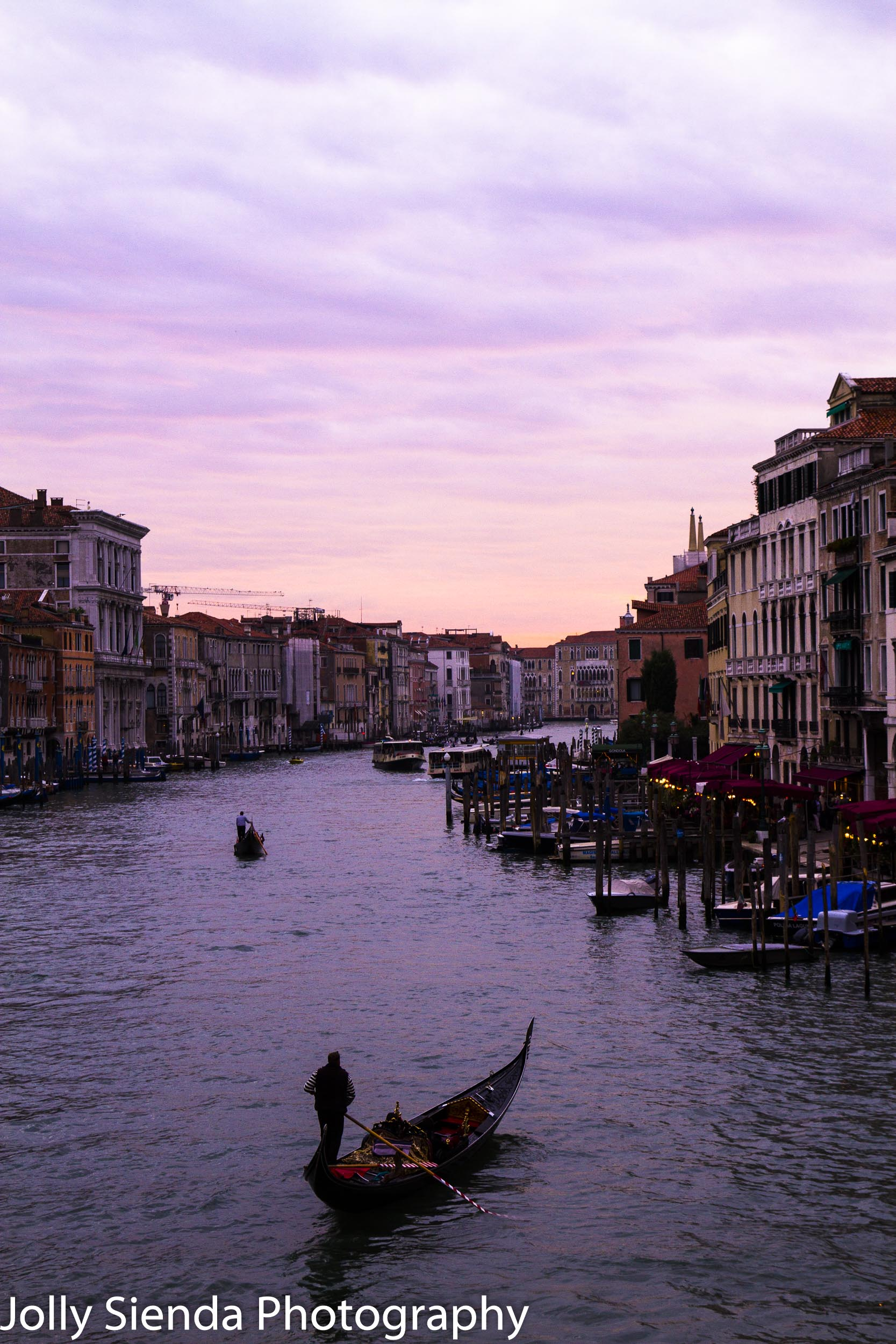 Gondalas on the Grand Canal at Sunset, travel photography