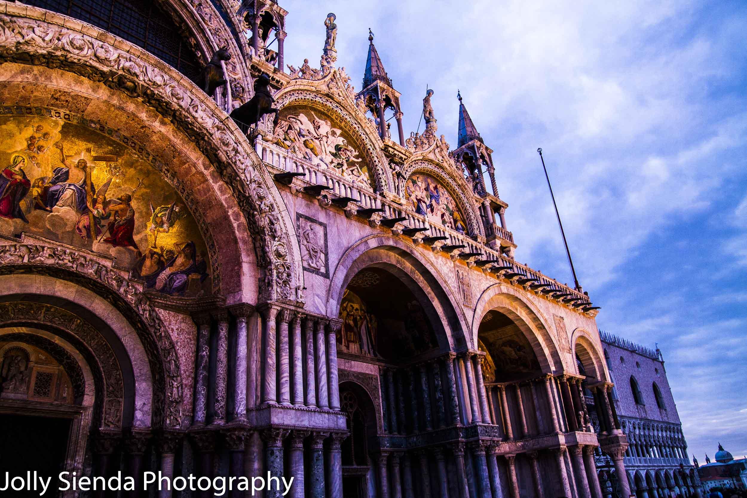 Sunrise light glows on the Basilica di San Marco, Venice
