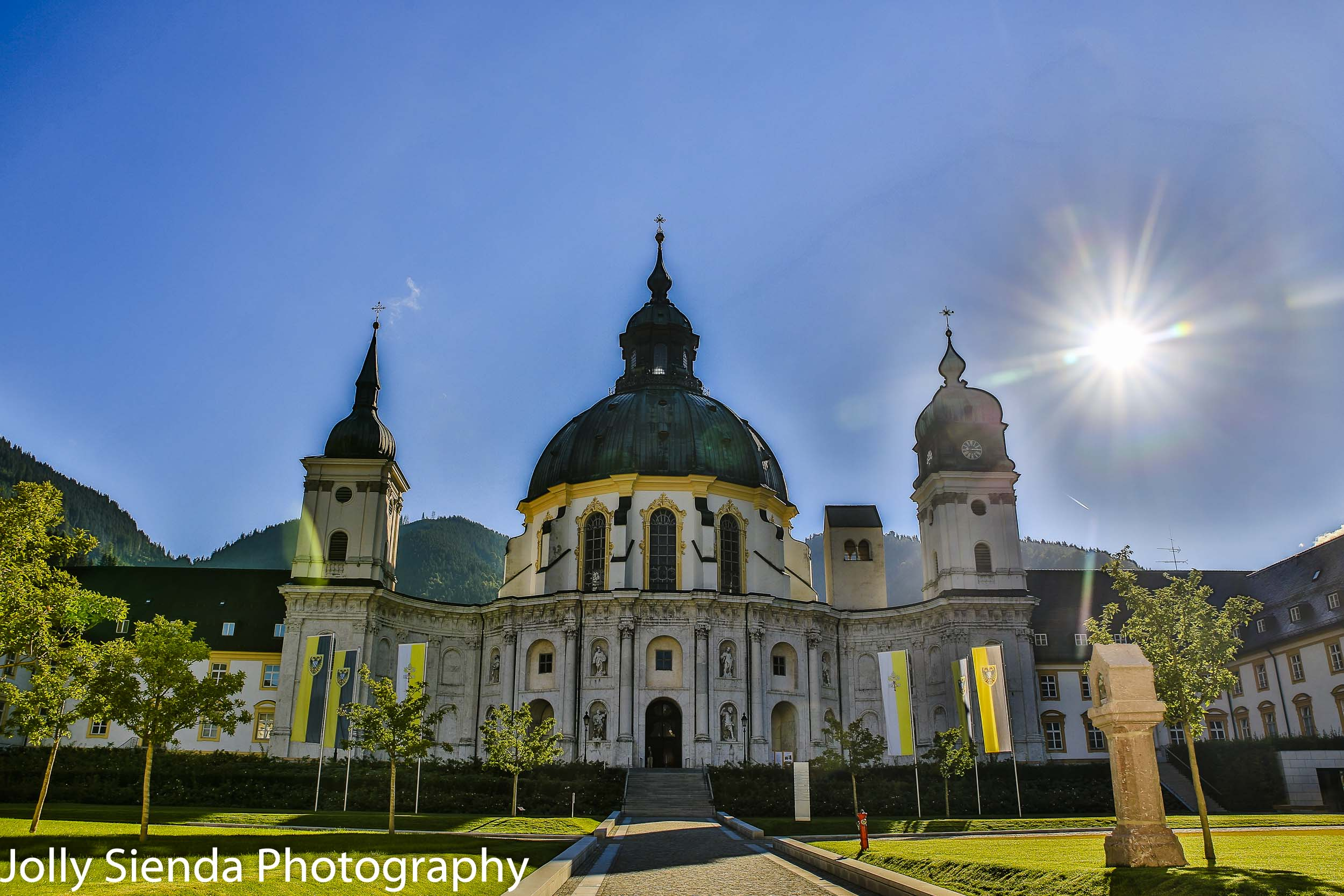 The Ettal Monestery with a burst of sunlight