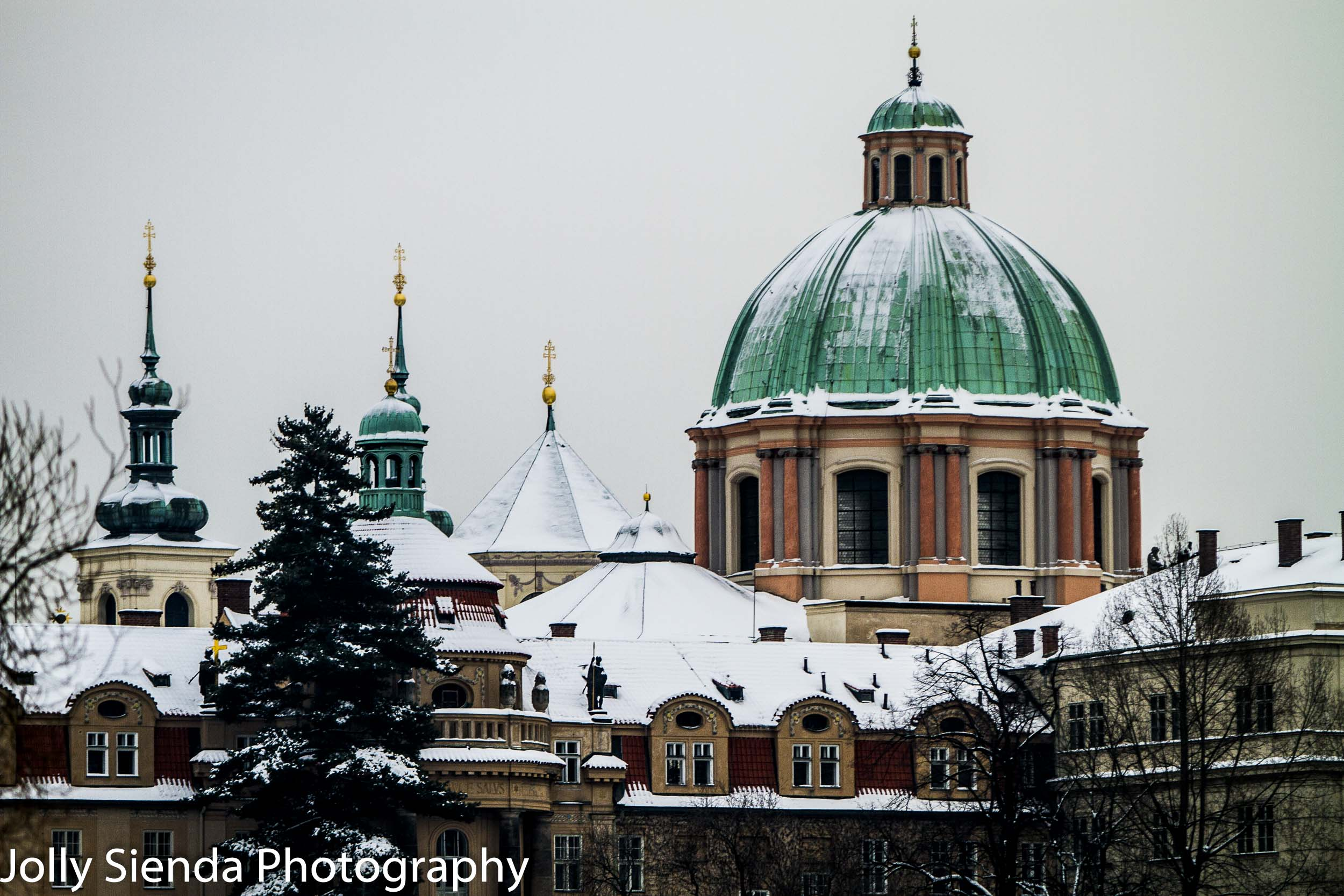 Snow covered St. František z Assisi Church in Prague