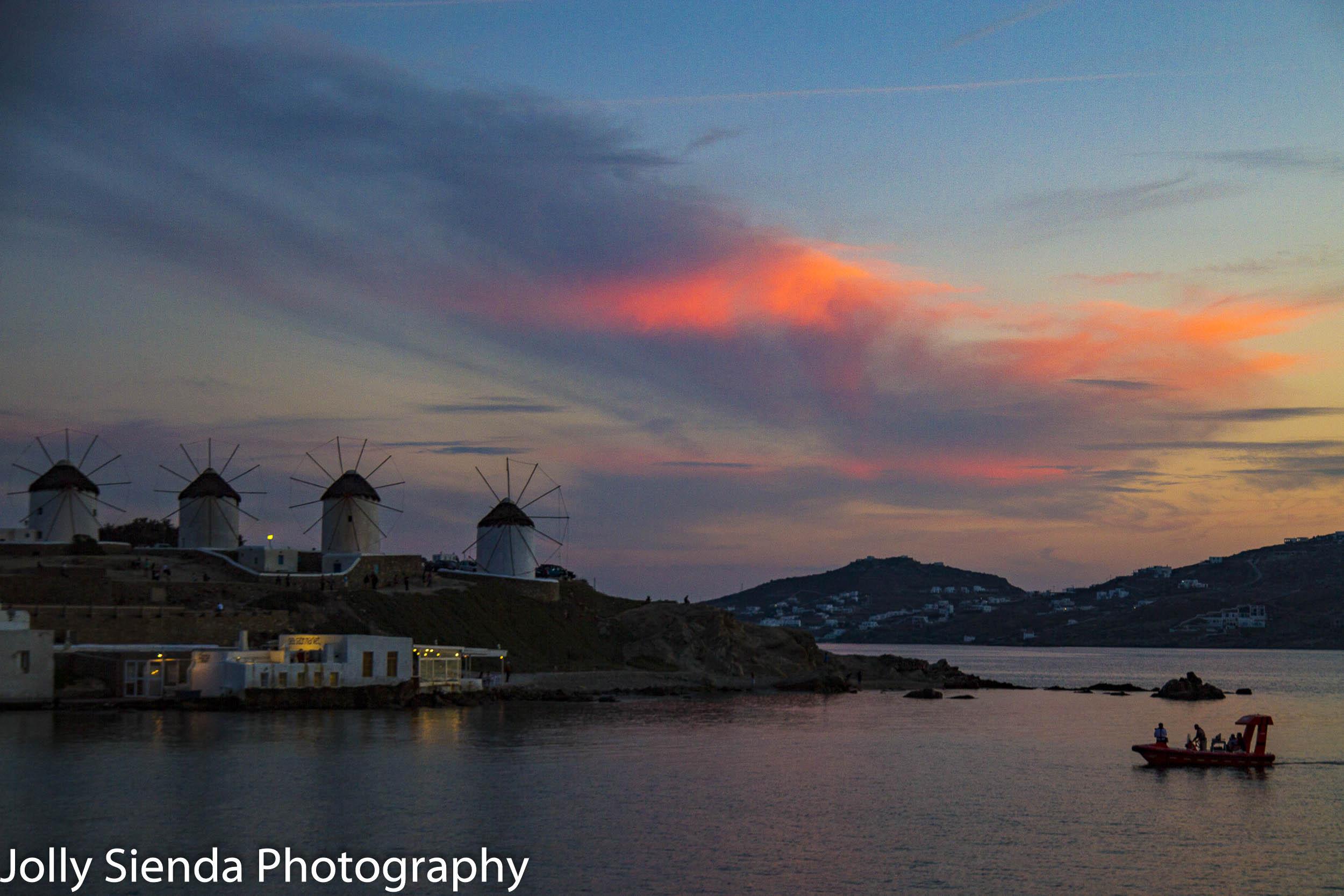 Greek windmills at Mykonos at sunset