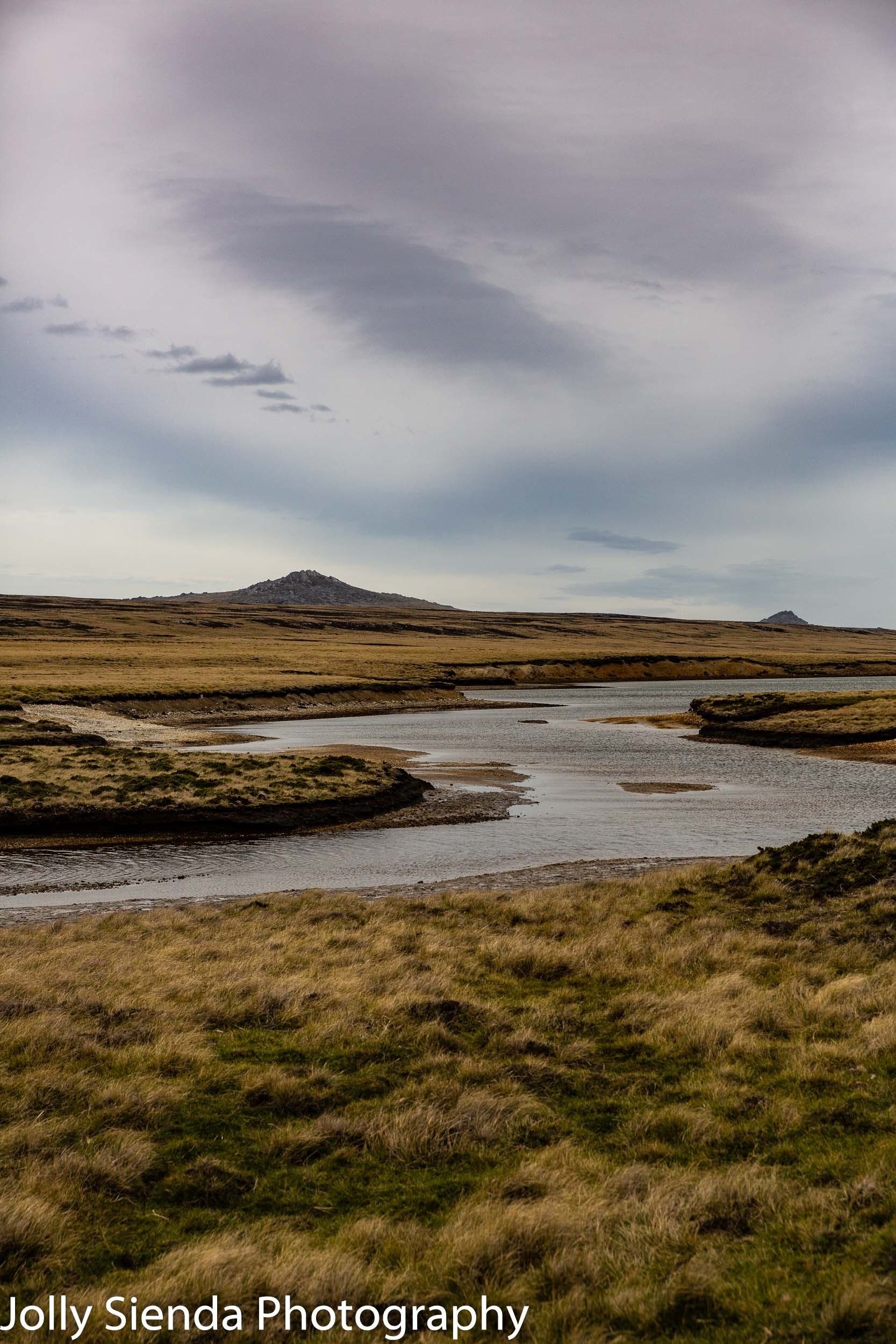 Falkland Island river and mountain landscape
