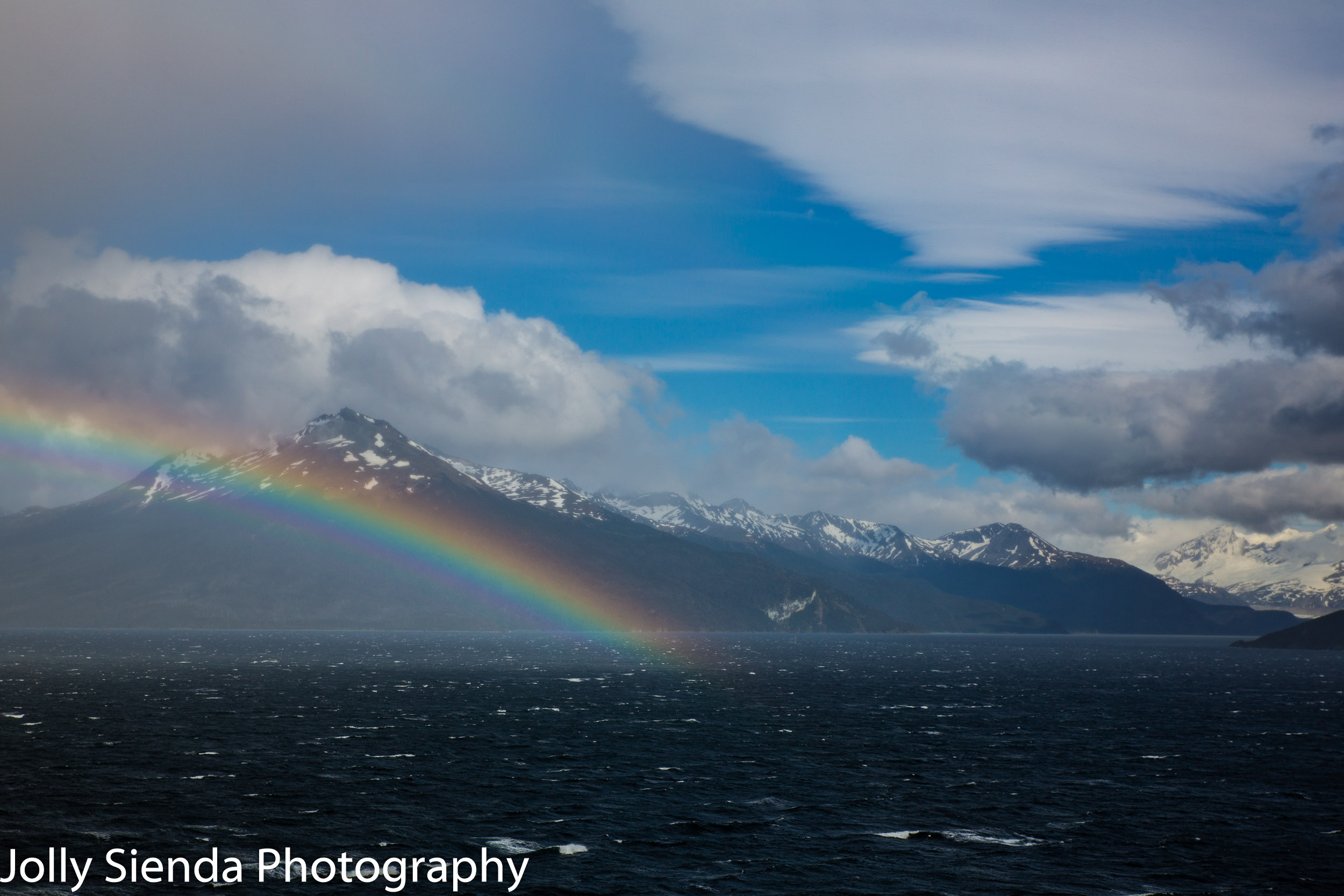 Tierra del Fuego rainbow off of the Strait of Magellen near Usushia, Argentina