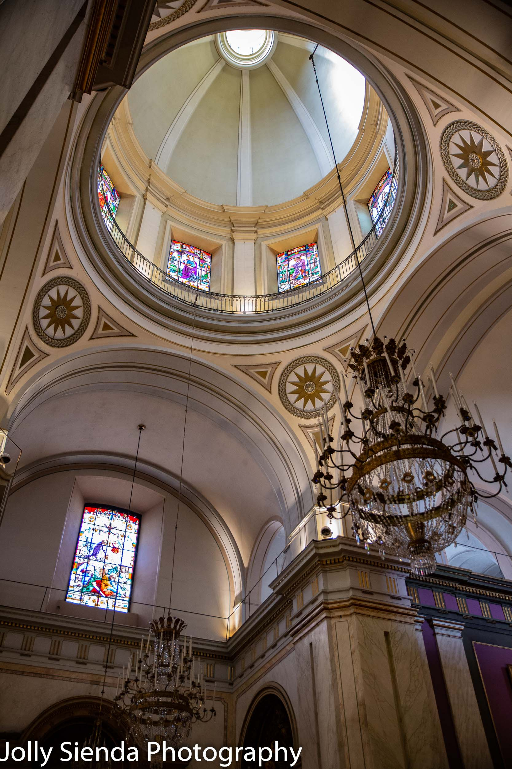 Spanish catholic church dome and stained glass windows