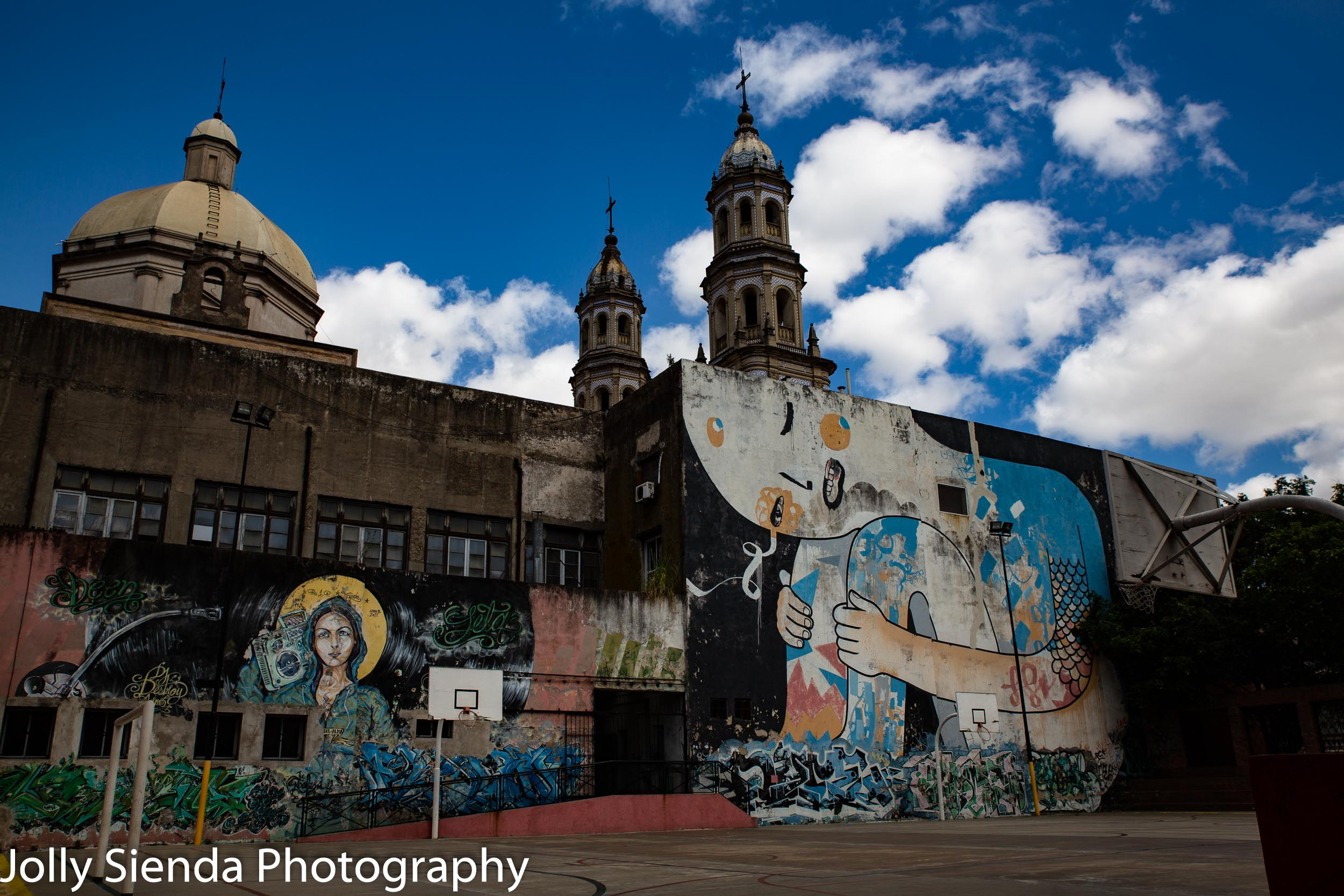 San Telmo, Argentina architecture, graffiti, and basketball courts and hoops