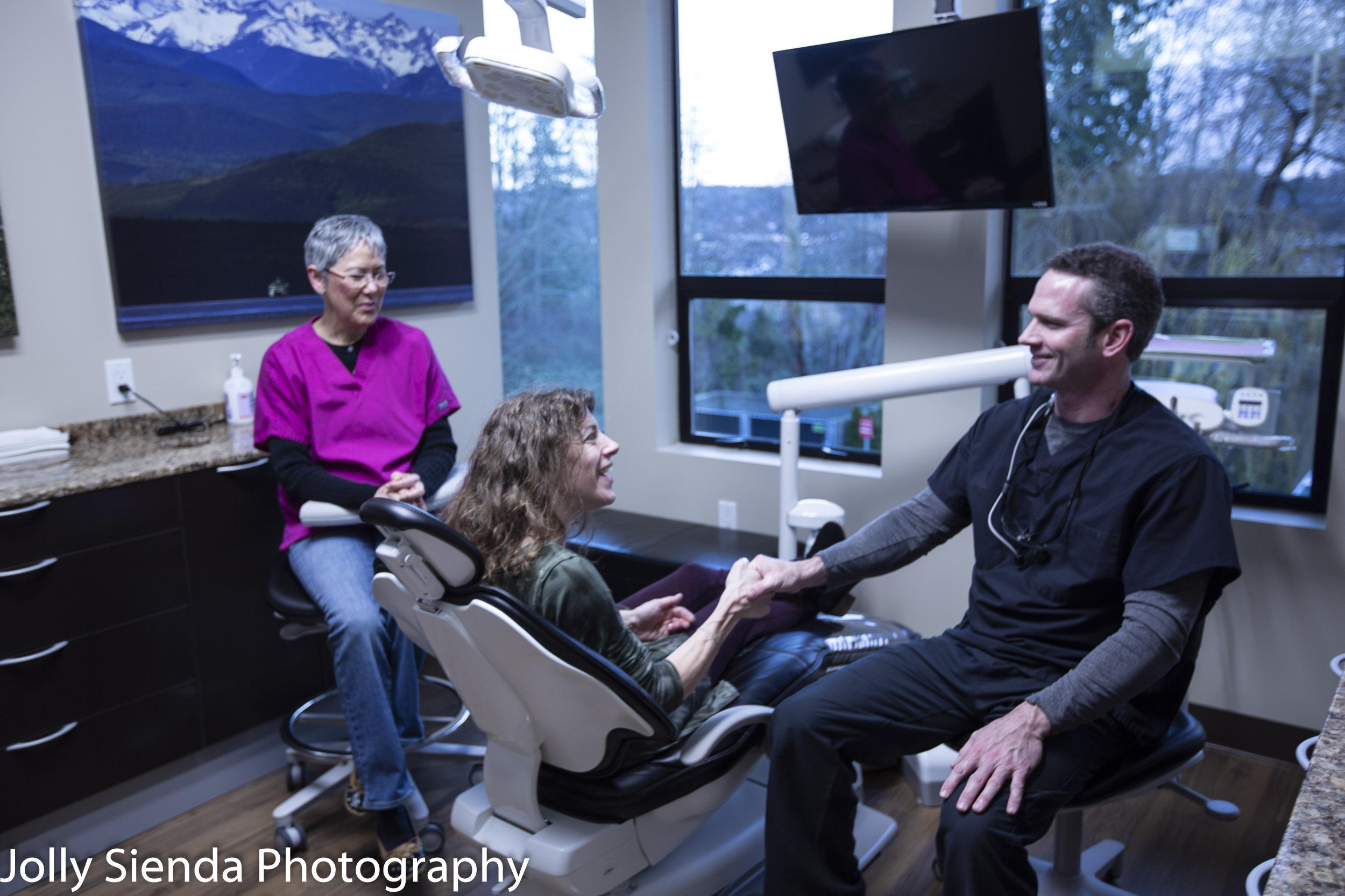 Dr. Matthew Pollard greets a patient at Pollard Dental, Silverdale, Washington.