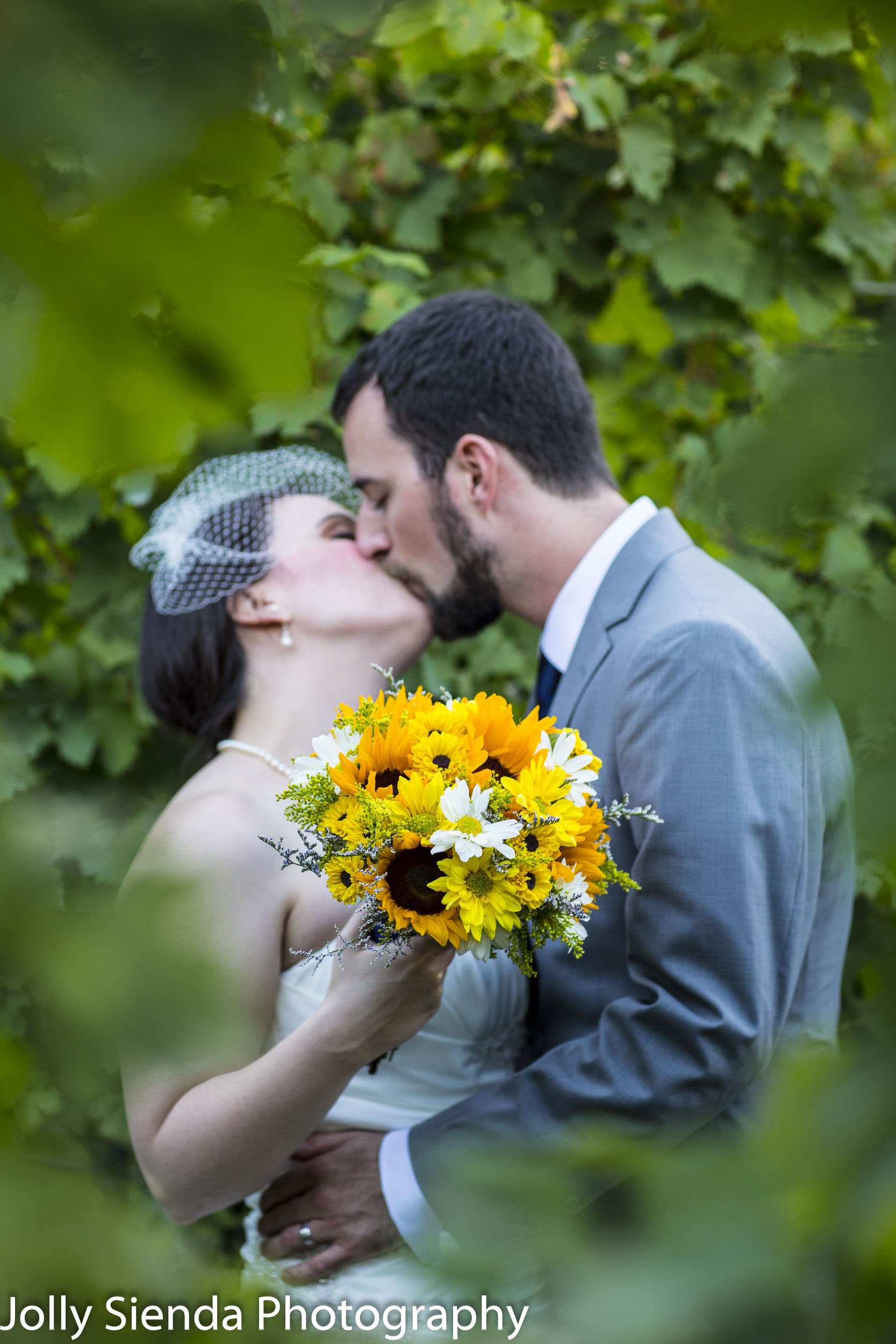 Vineyard wedding, bride and groom kiss in the sunflower vineyard