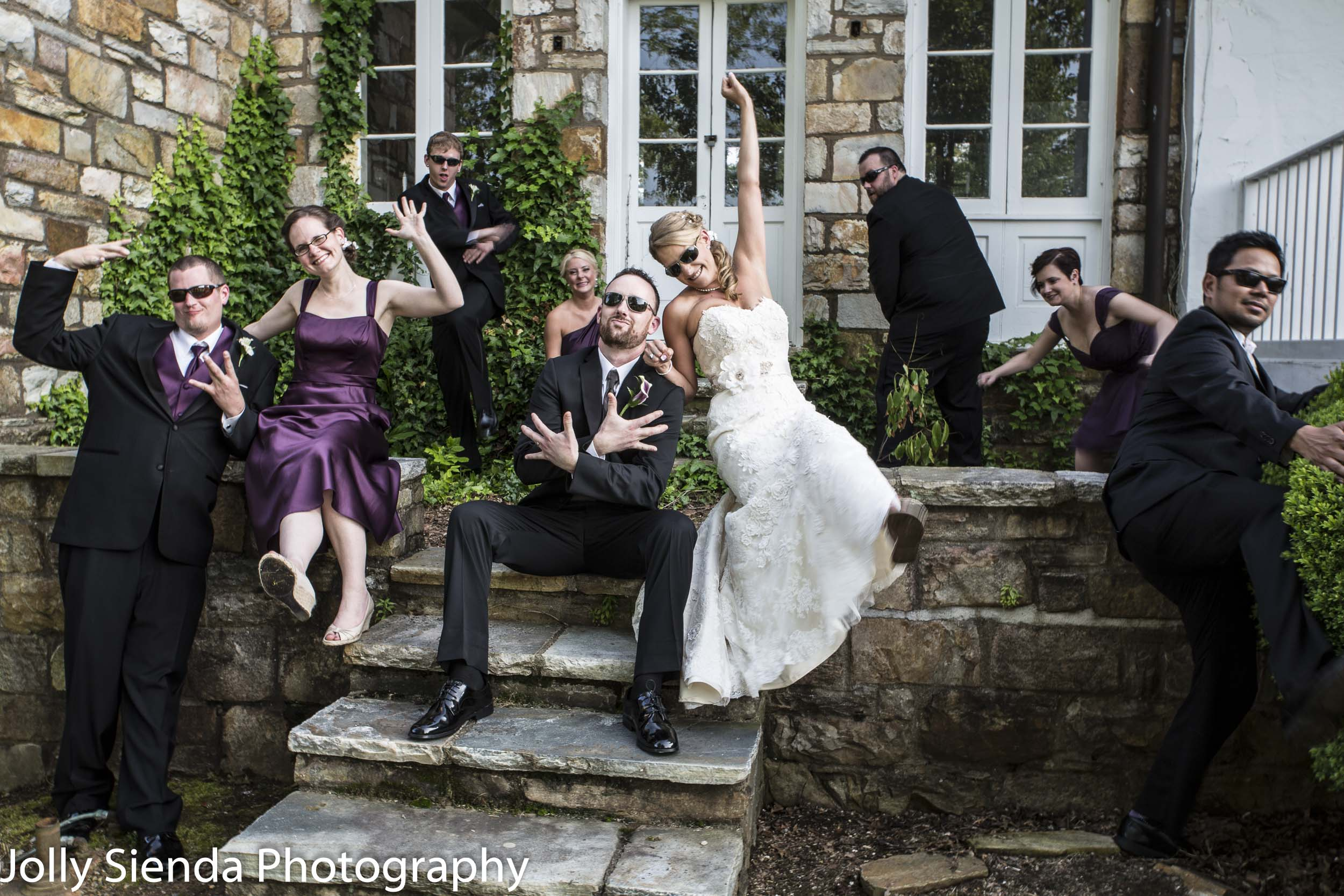 Wedding party acting cool!