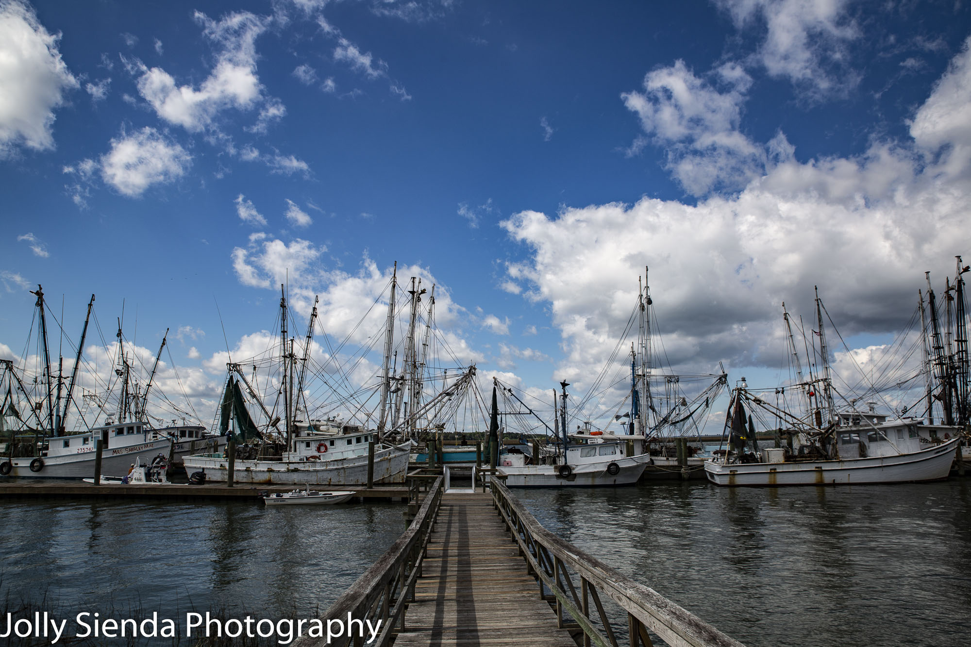 Shrimp fishing boats and the dock at Port Royal, South Carolina.