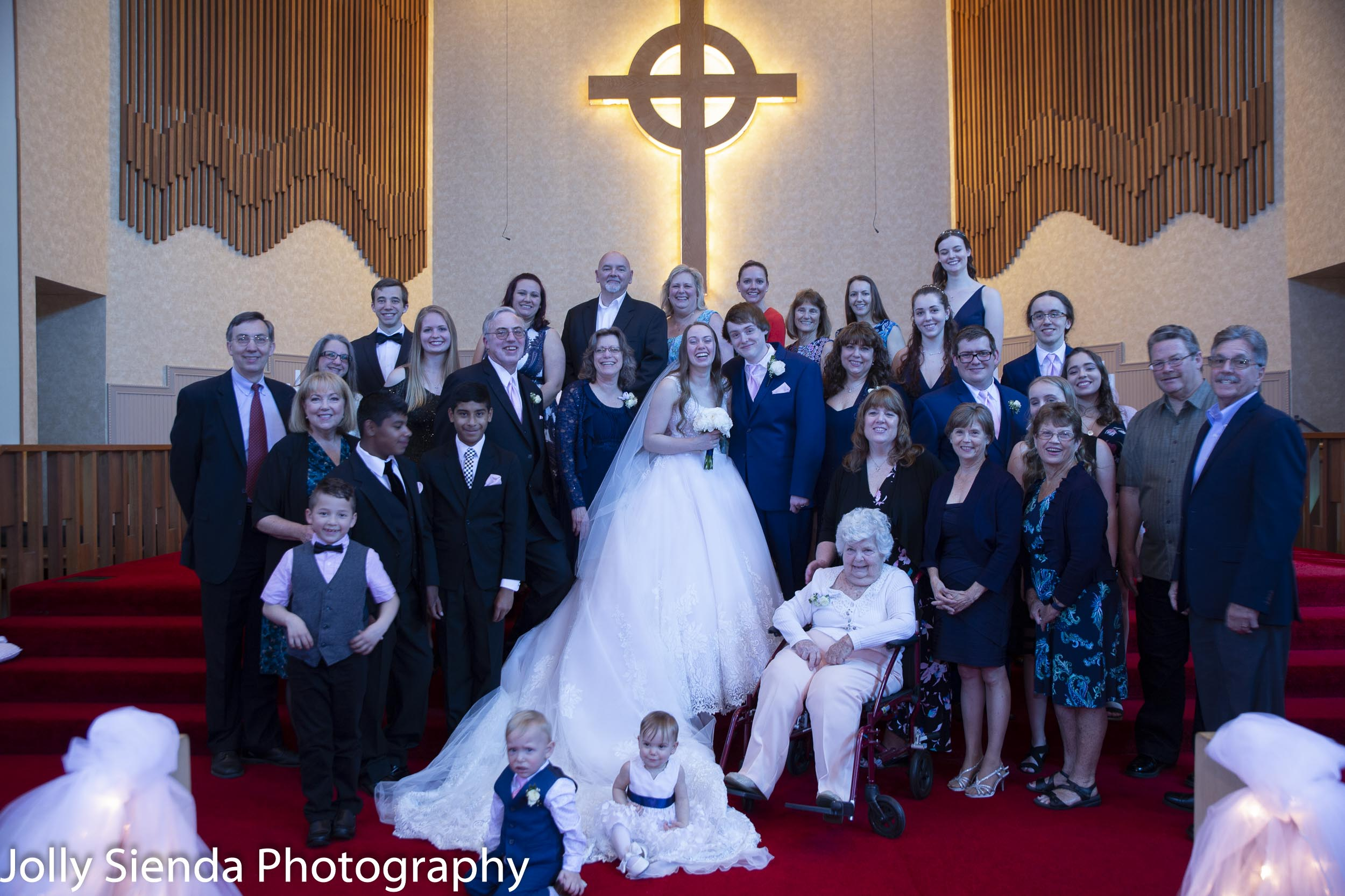 Family photograph of Lily and Aaron's wedding.